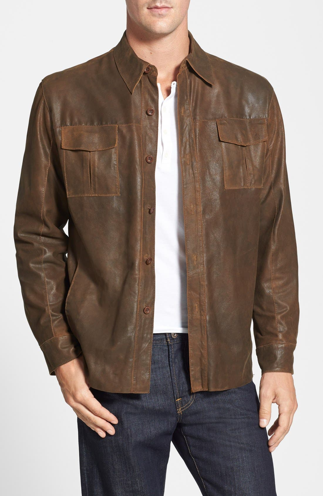 Classic Fit Military Shirt Leather Jacket,                         Main,                         color, Rust