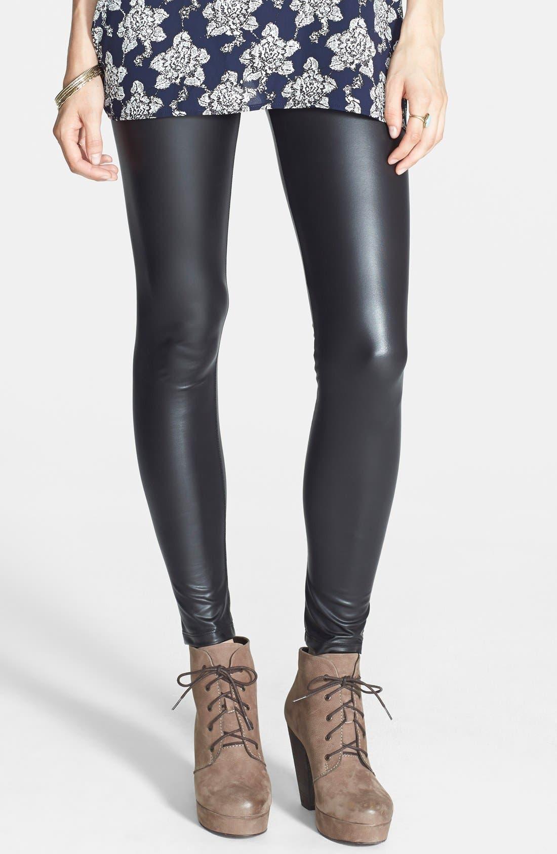 Main Image - Mimi Chica Faux Leather Leggings (Juniors)