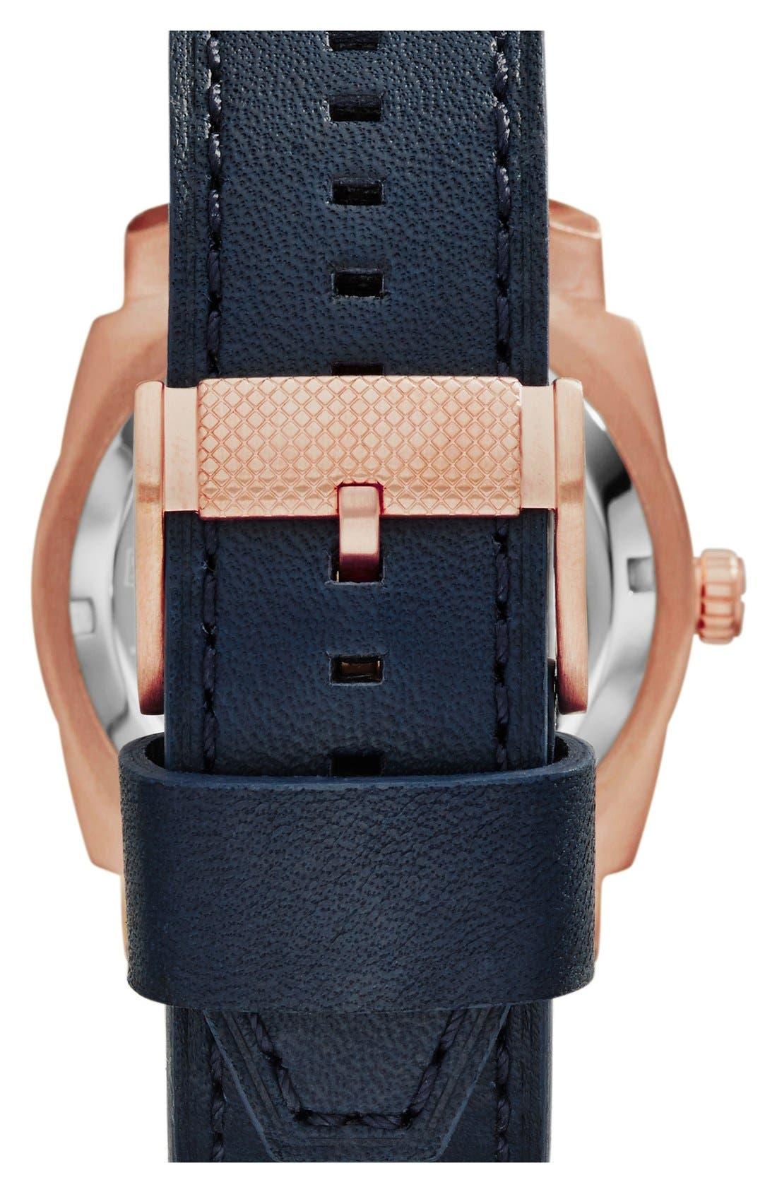 Alternate Image 2  - Fossil 'Machine Twist' Leather Strap Watch, 45mm
