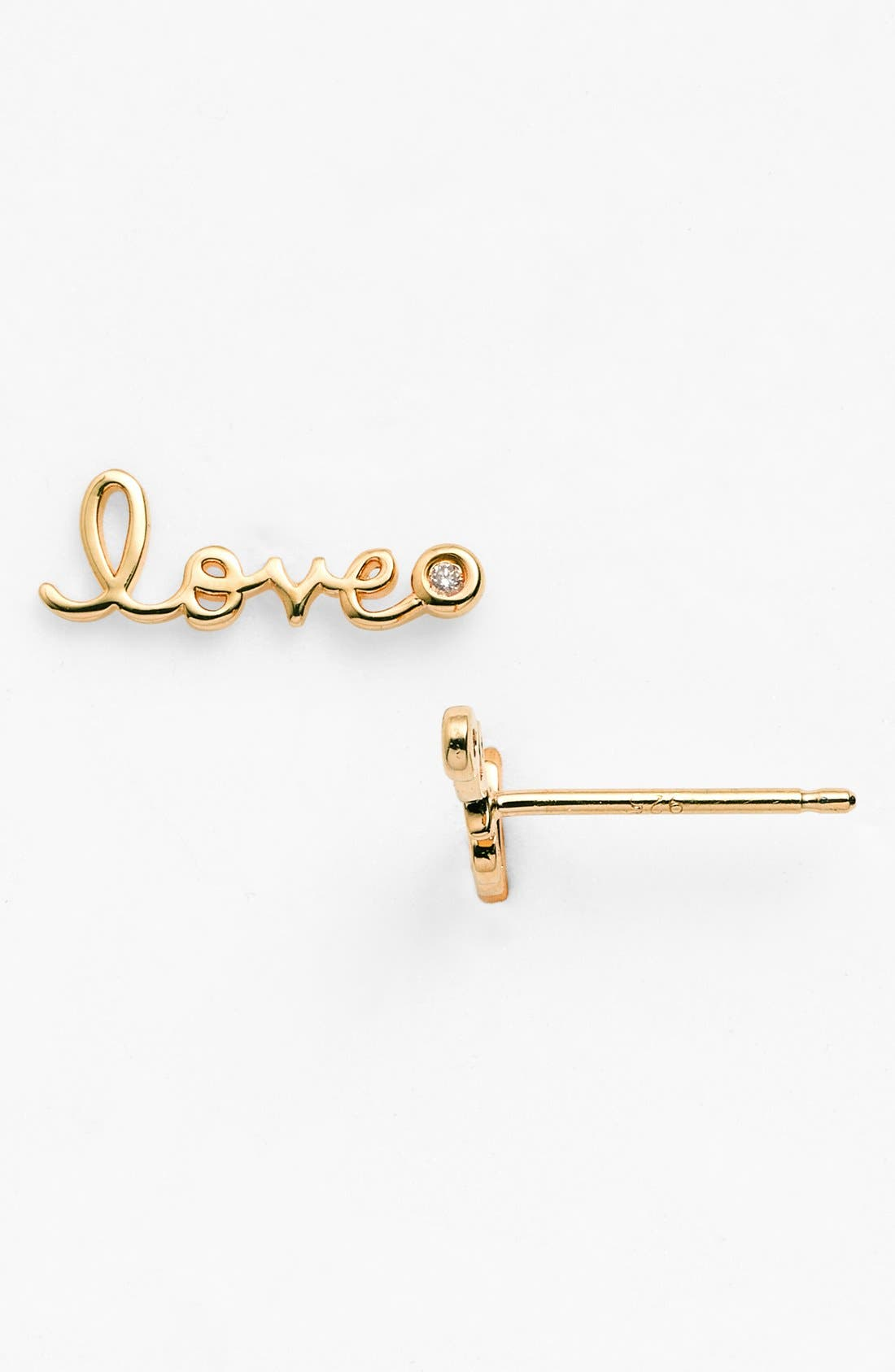 'Love' Diamond Stud Earrings,                         Main,                         color, Gold