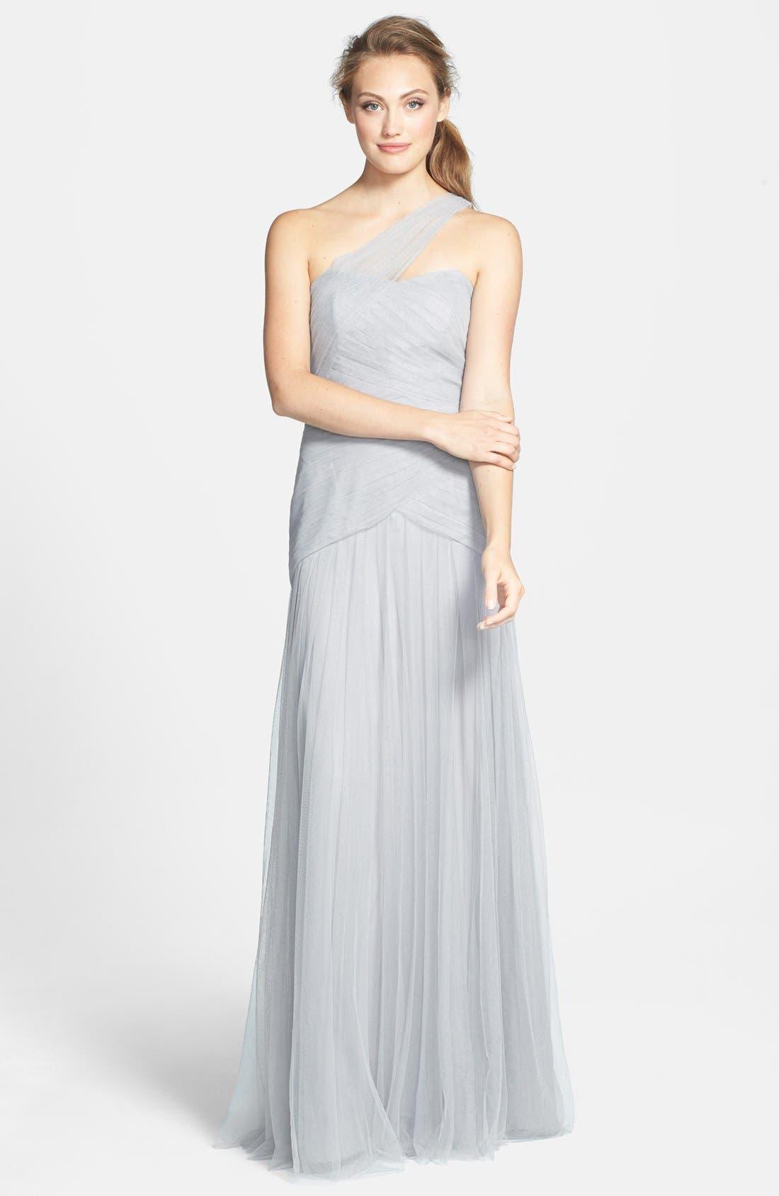 Main Image - Monique Lhuillier Bridesmaids Pleated One-Shoulder Tulle Trumpet Gown