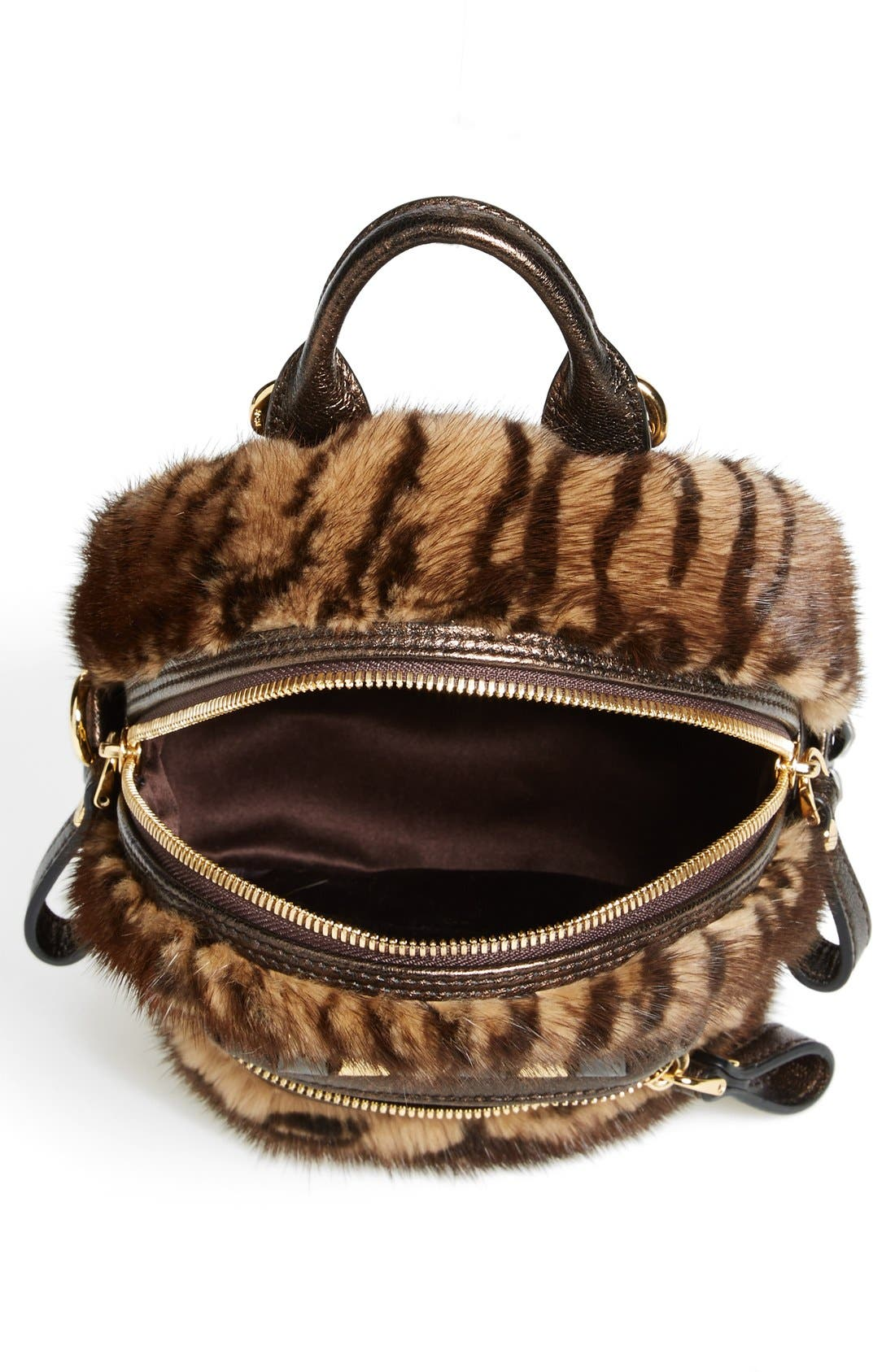 Alternate Image 3  - MCM 'Xmini' Metallic Goatskin & Genuine Mink Fur Convertible Backpack