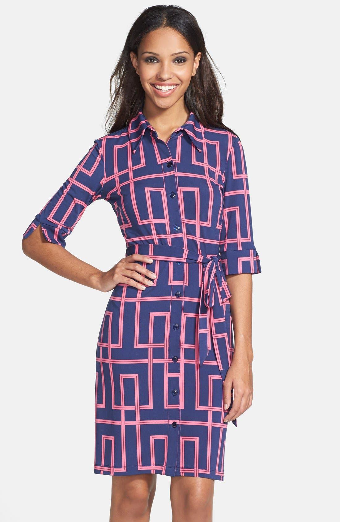 Main Image - Maggy London Print Jersey Shirtdress