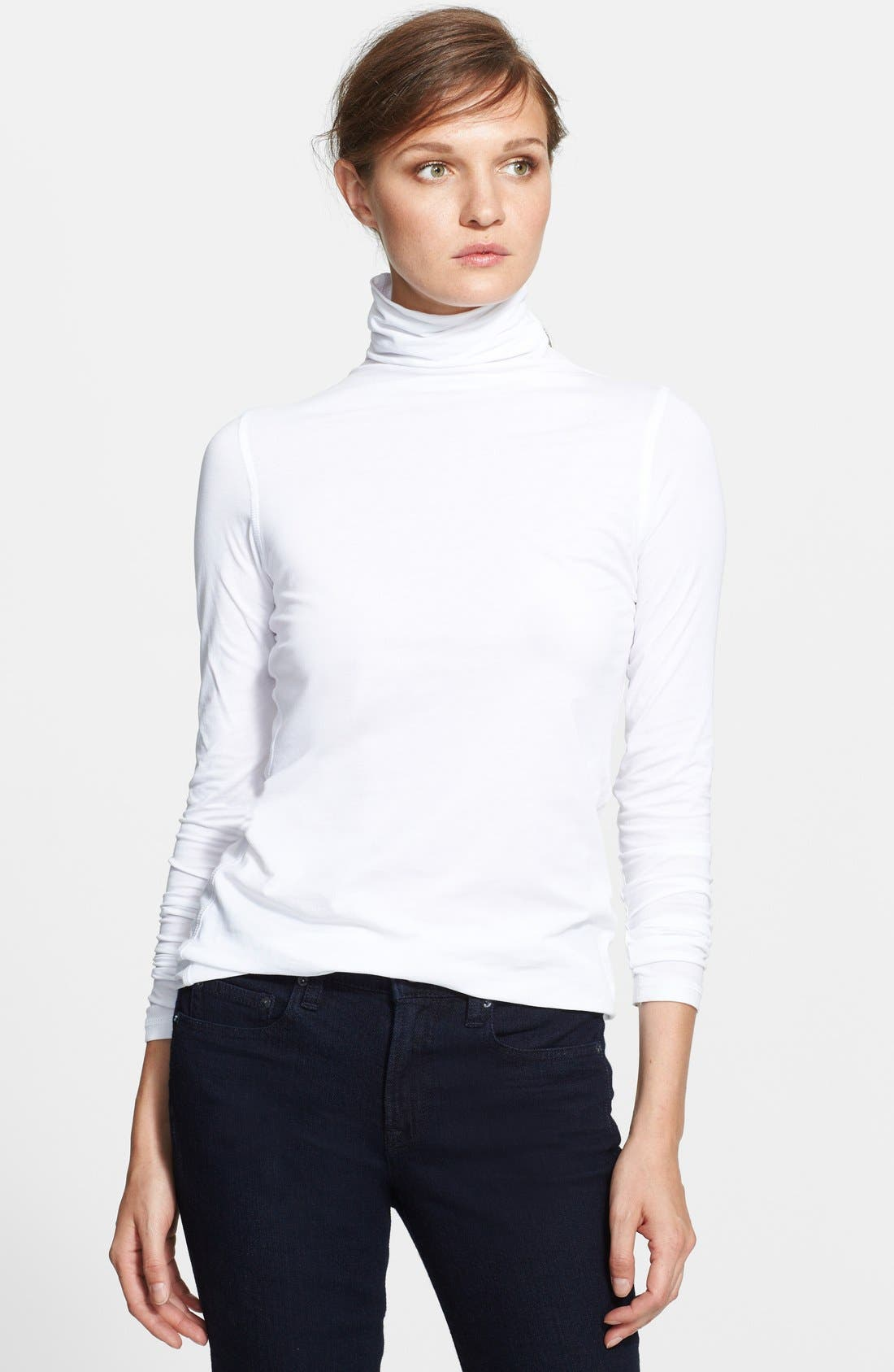 'Favorite' Soft Cotton Turtleneck,                             Main thumbnail 1, color,                             White