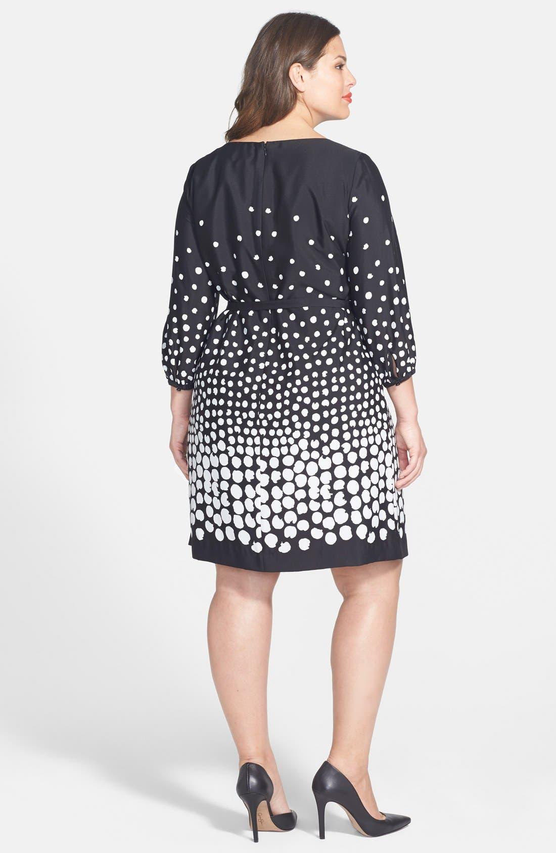 Alternate Image 2  - Tahari by ASL Belted Graduated Dot Dress (Plus Size)