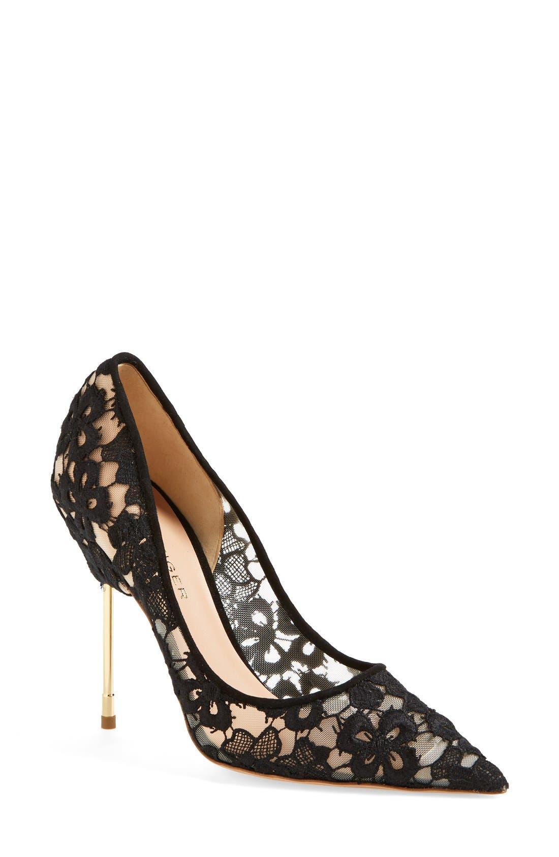 Alternate Image 1 Selected - Kurt Geiger London 'Britton' Lace Pointy Toe Pump (Women)