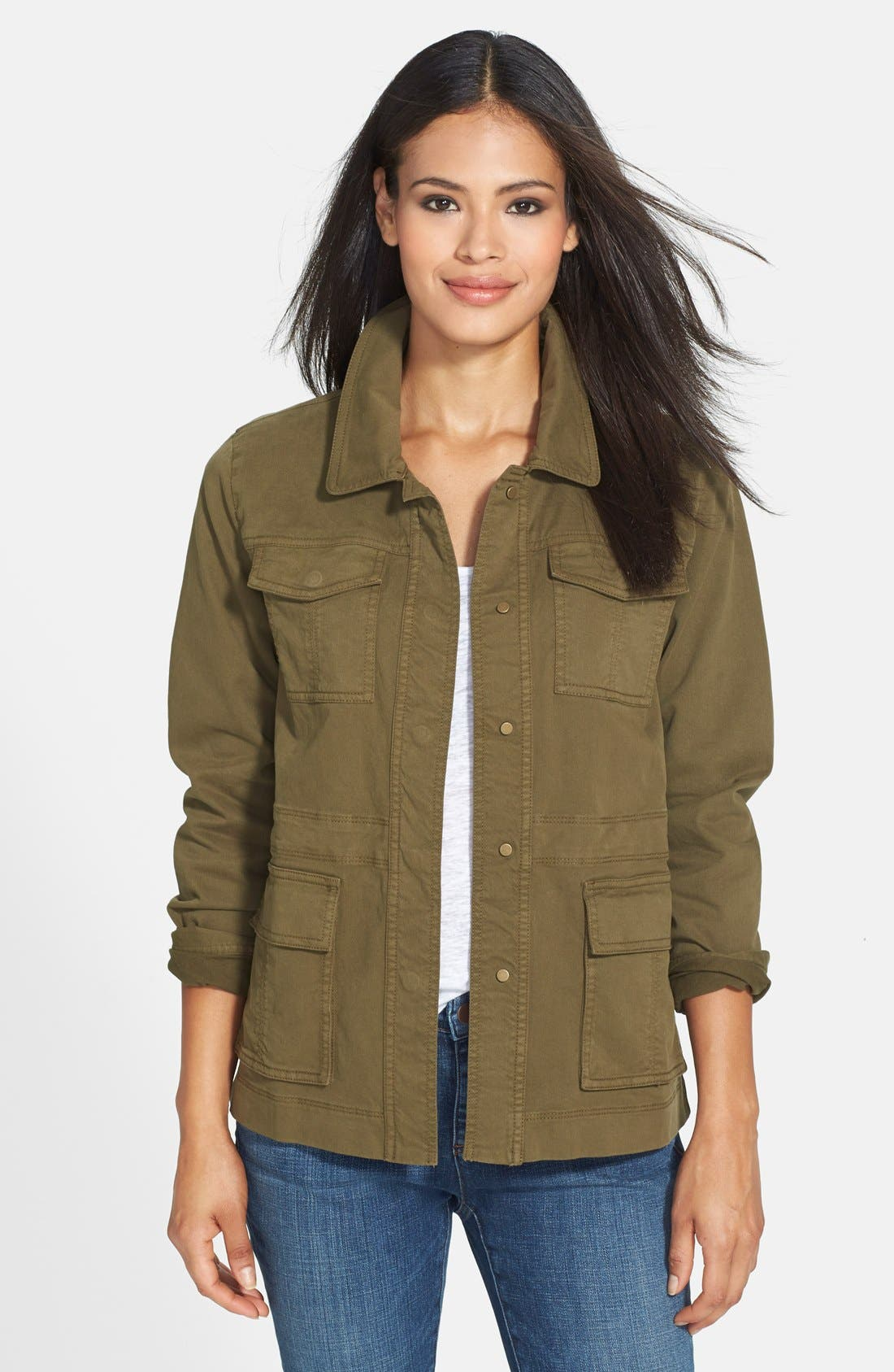 The Fisher Project Classic Collar Stretch Twill Jacket,                         Main,                         color, Olive