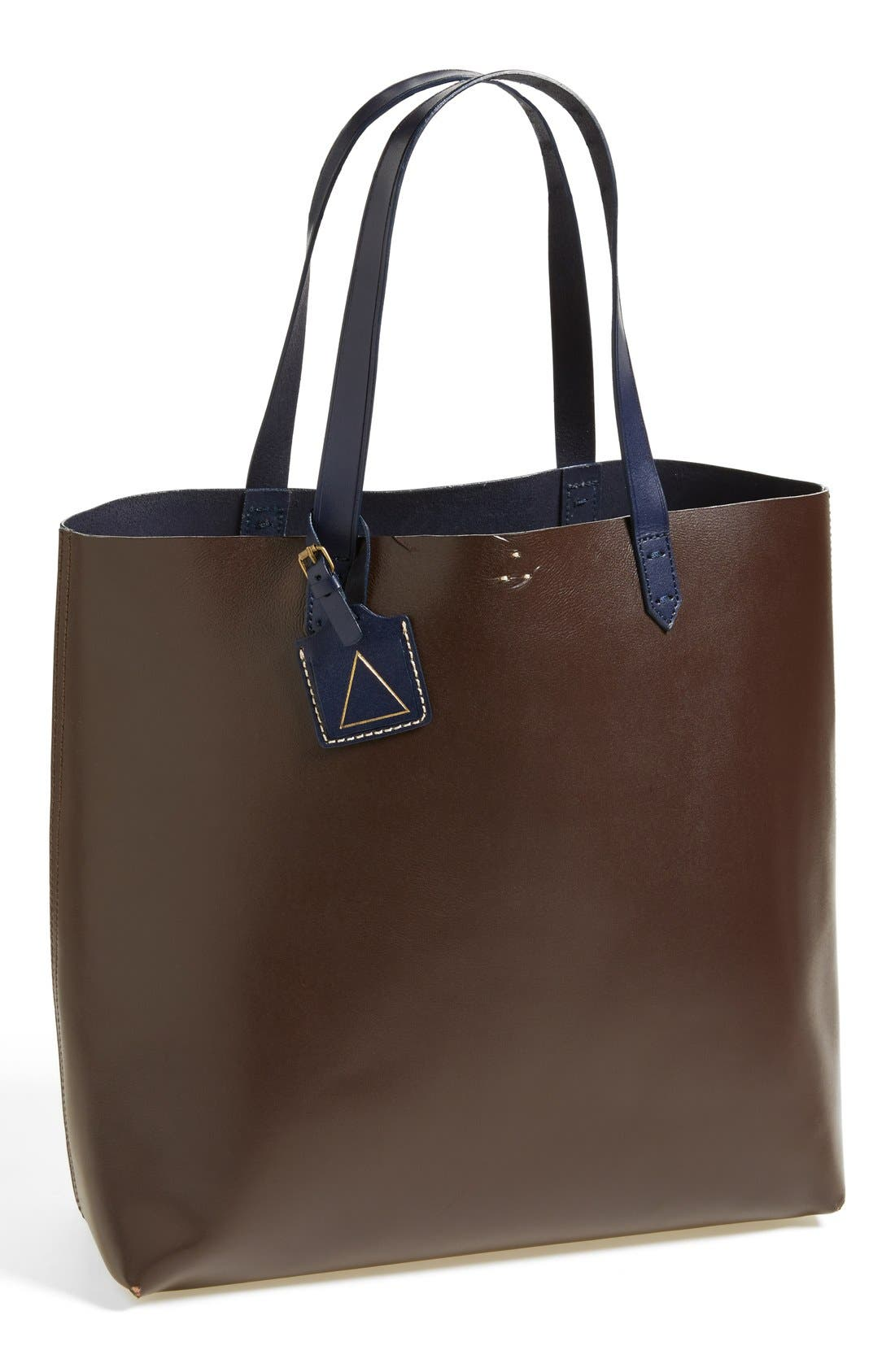 'Commuter' Leather Tote,                         Main,                         color, Chocolate Multi