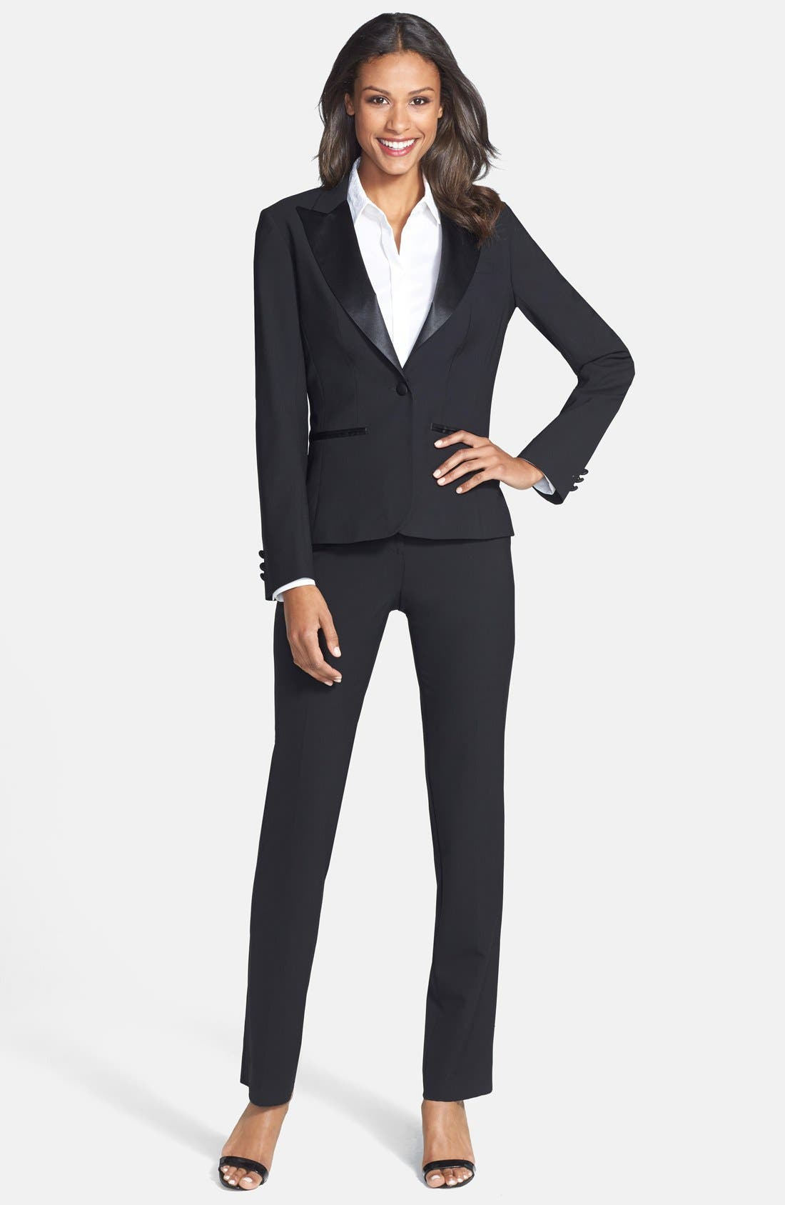 Stretch Wool Tuxedo Pants,                             Alternate thumbnail 3, color,                             Black