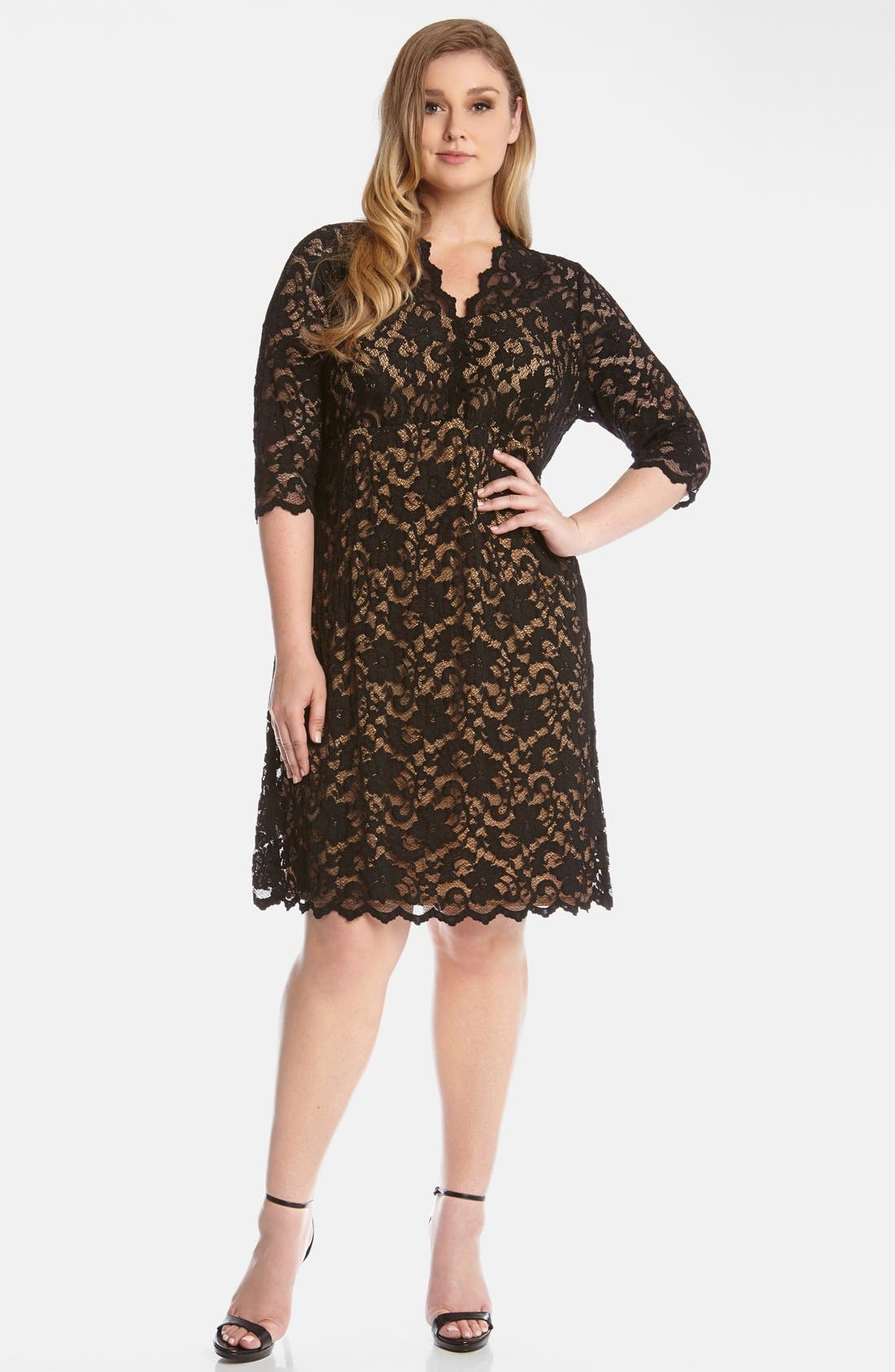 Karen Kane Scallop Illusion Lace Dress (Plus Size)