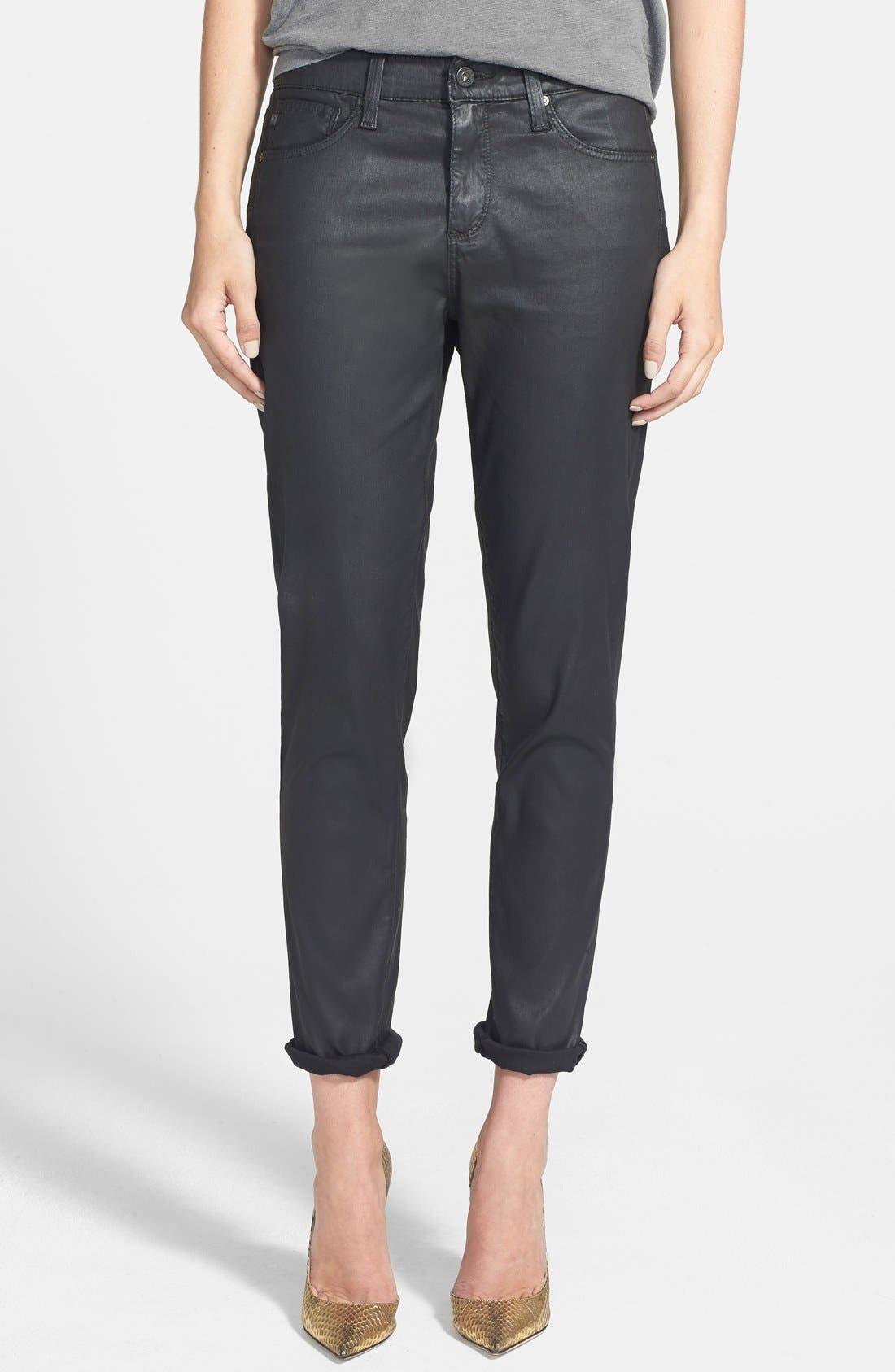 Main Image - AG 'Leatherette Beau' Coated Boyfriend Skinny Jeans (Leatherette Black)