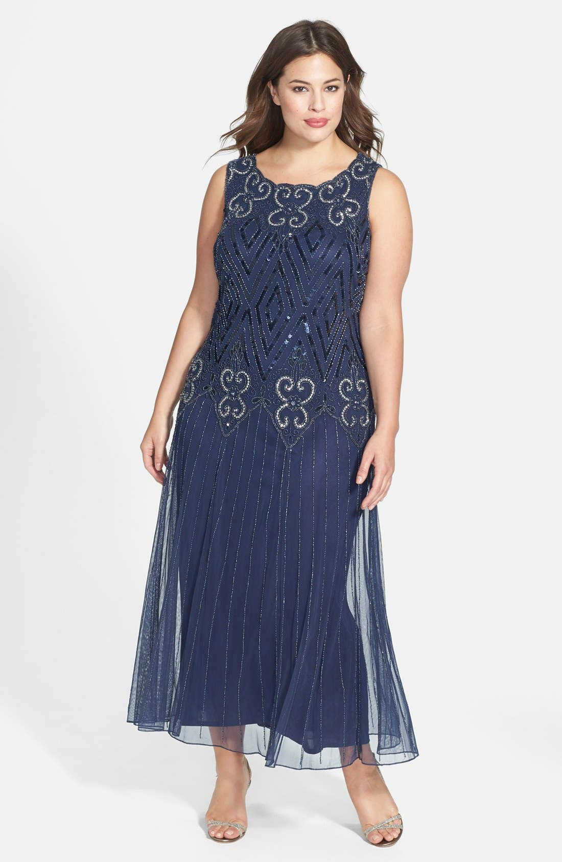 Beaded Chiffon Gown,                         Main,                         color, Navy