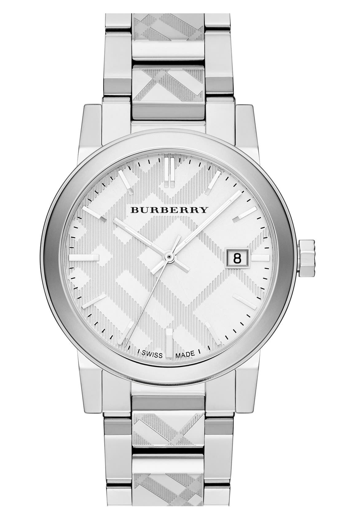 Check Stamped Bracelet Watch, 38mm,                         Main,                         color, Silver