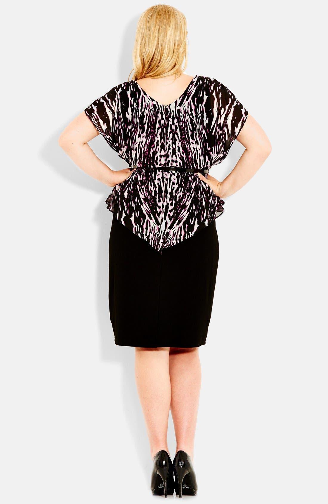 Alternate Image 2  - City Chic 'Animal Flutter' Belted Dress (Plus Size)