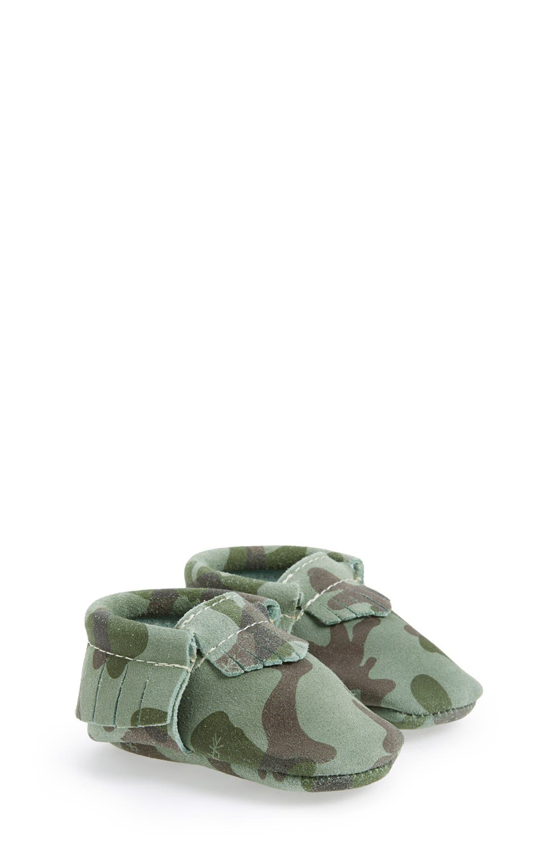 Main Image - Freshly Picked Camo Print Suede Moccasin (Baby & Walker)