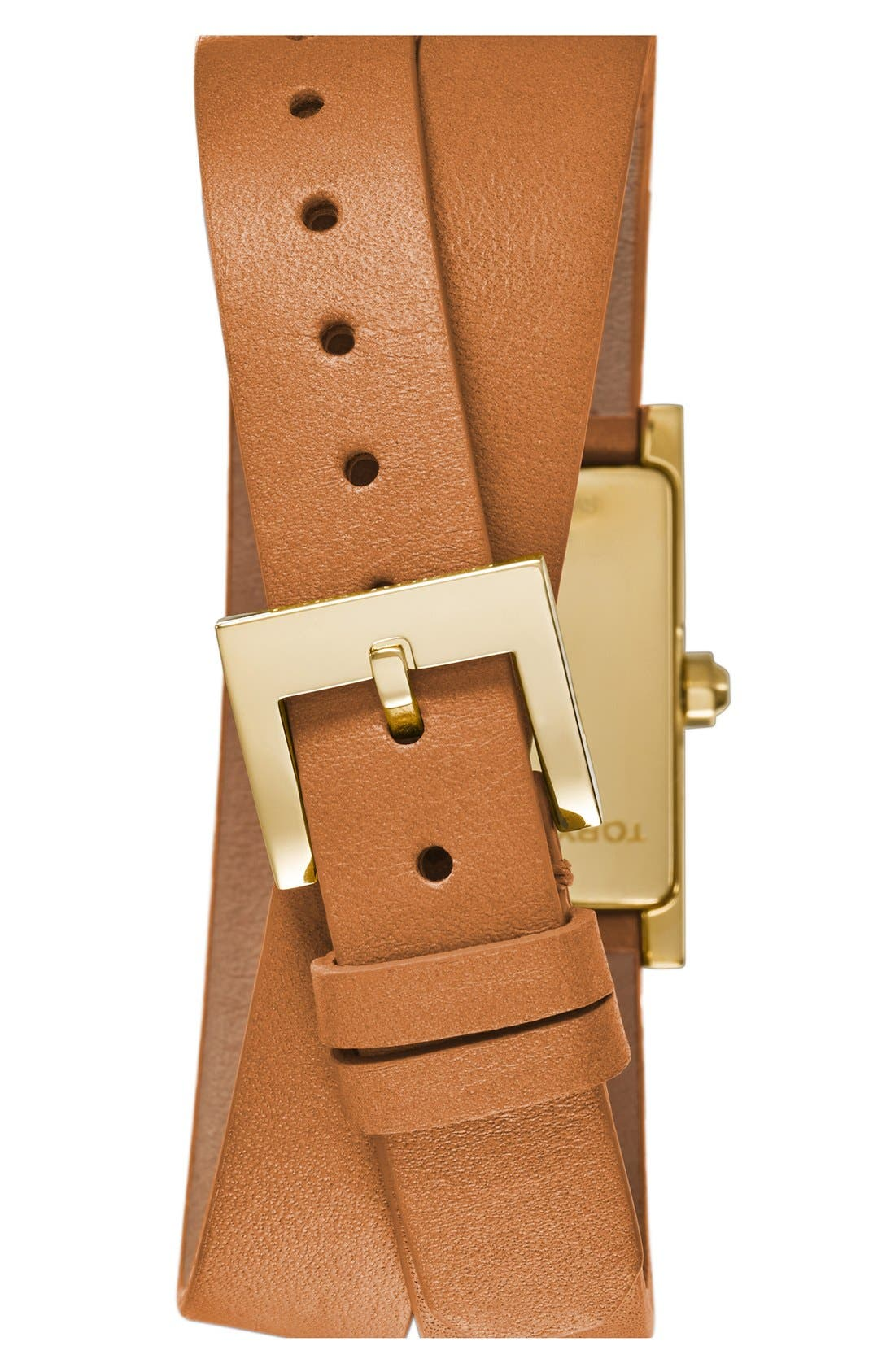 'Buddy Signature' Rectangular Wrap Leather Strap Watch, 17mm x 31mm,                             Alternate thumbnail 2, color,                             Luggage/ Gold