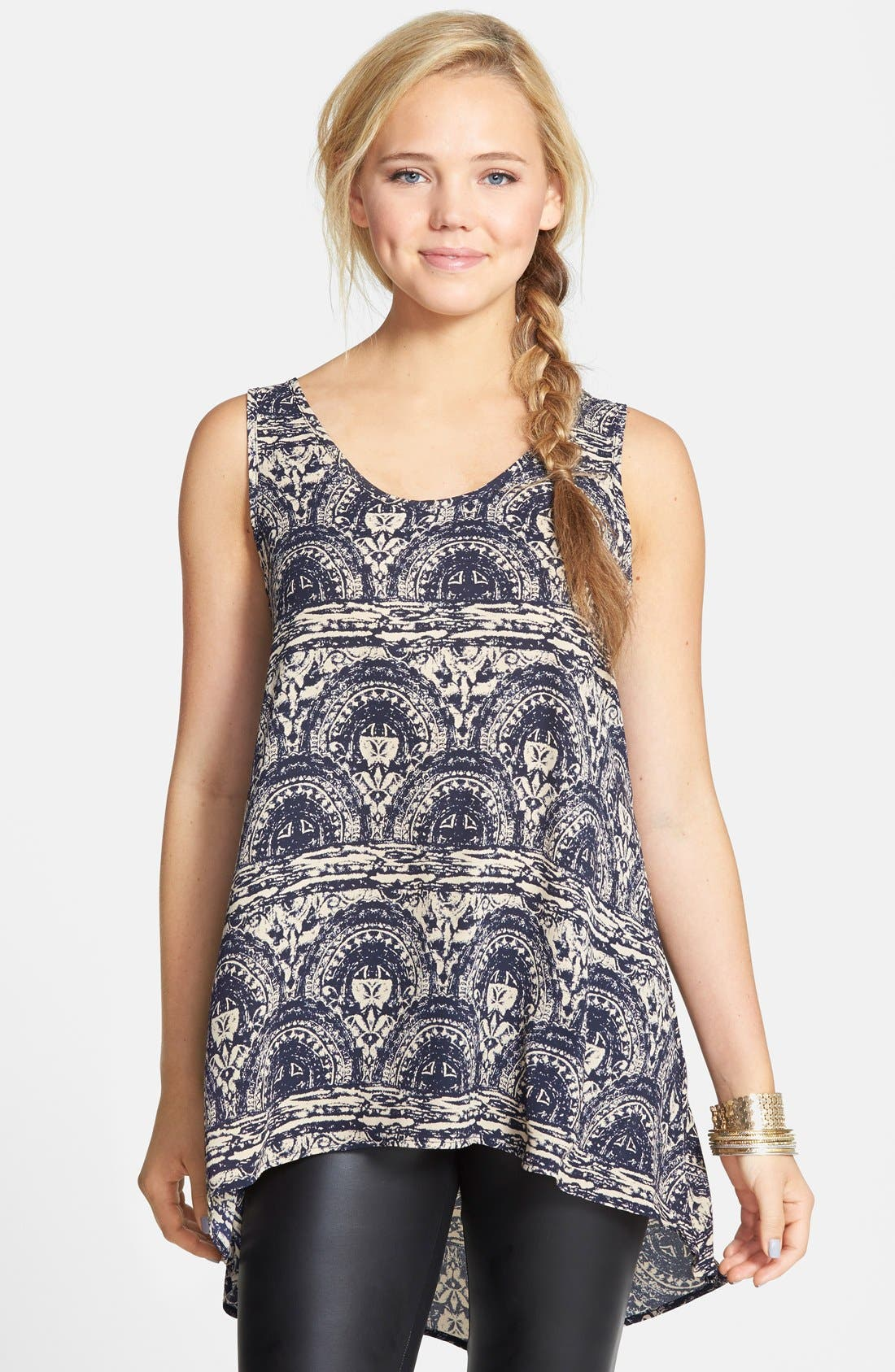 Main Image - Painted Threads Chiffon High/Low Tunic Tank (Juniors)