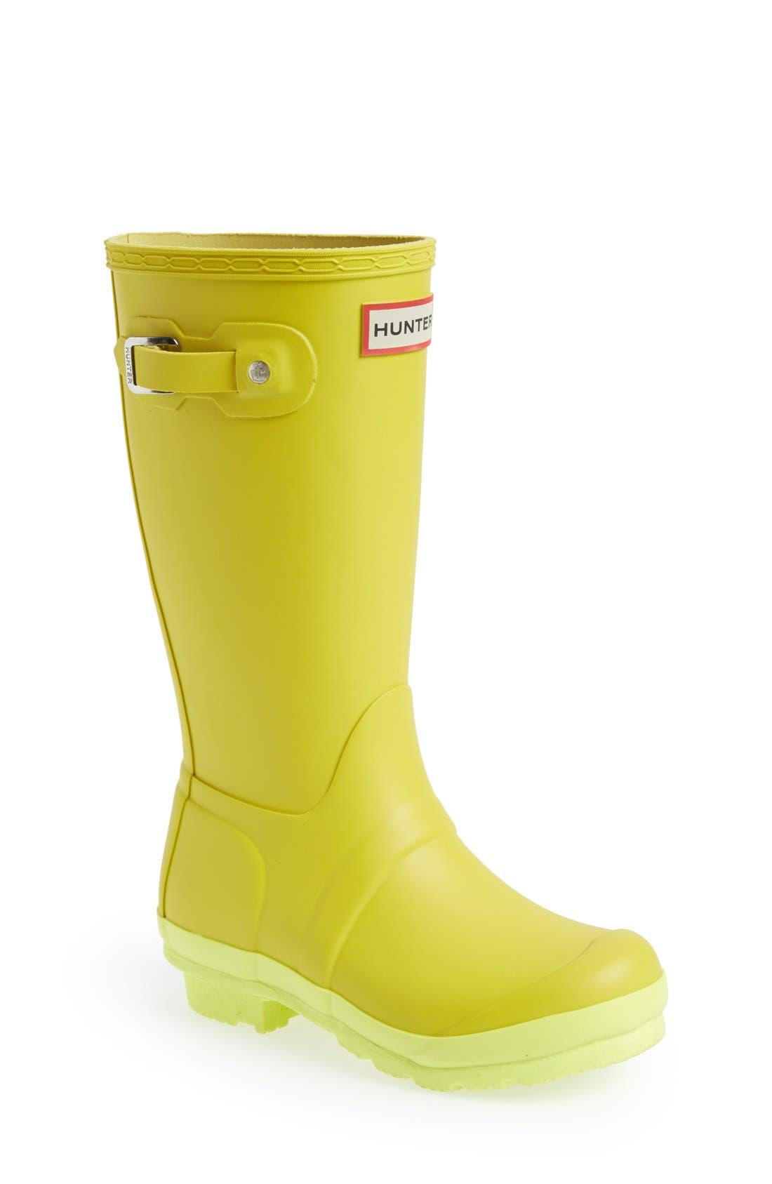 Main Image - Hunter 'Original Contrast Sole' Waterproof Rain Boot (Little Kid & Big Kid)
