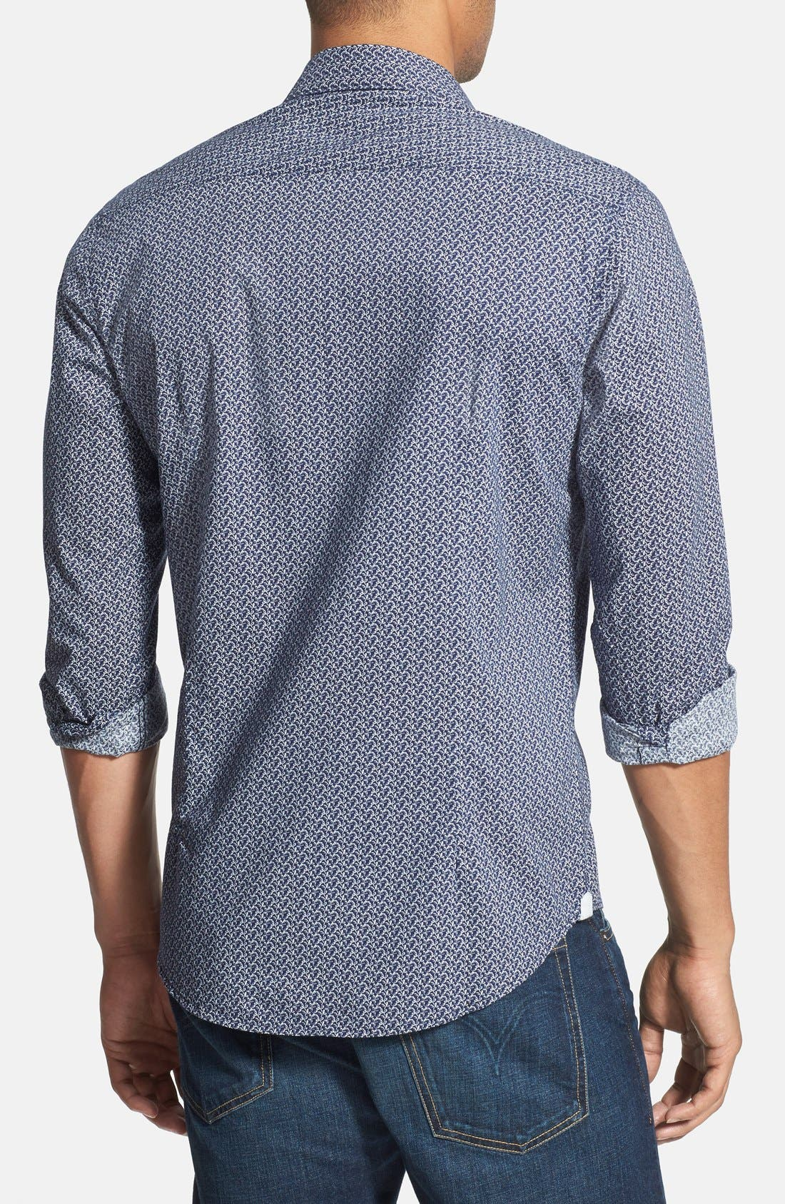 'Blueberry Hill' Trim Fit Print Woven Shirt,                             Alternate thumbnail 2, color,                             Navy
