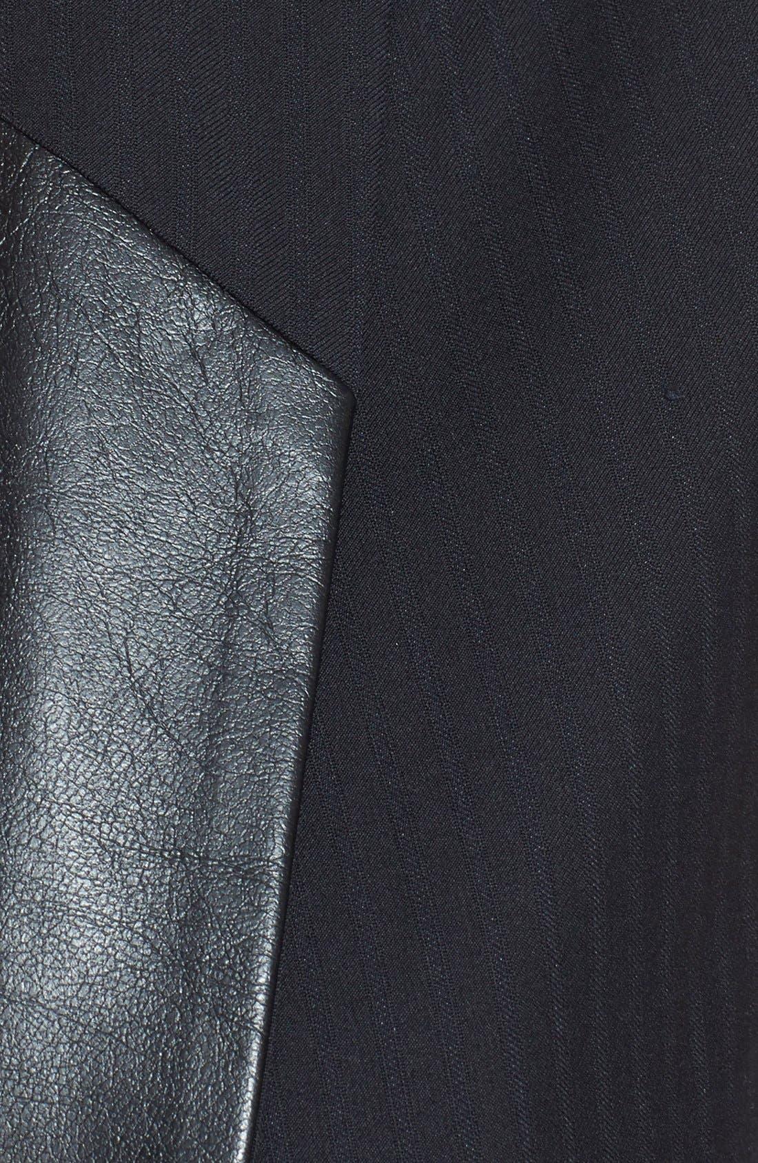 Faux Leather Trim Sleeveless Blazer,                             Alternate thumbnail 3, color,                             Black