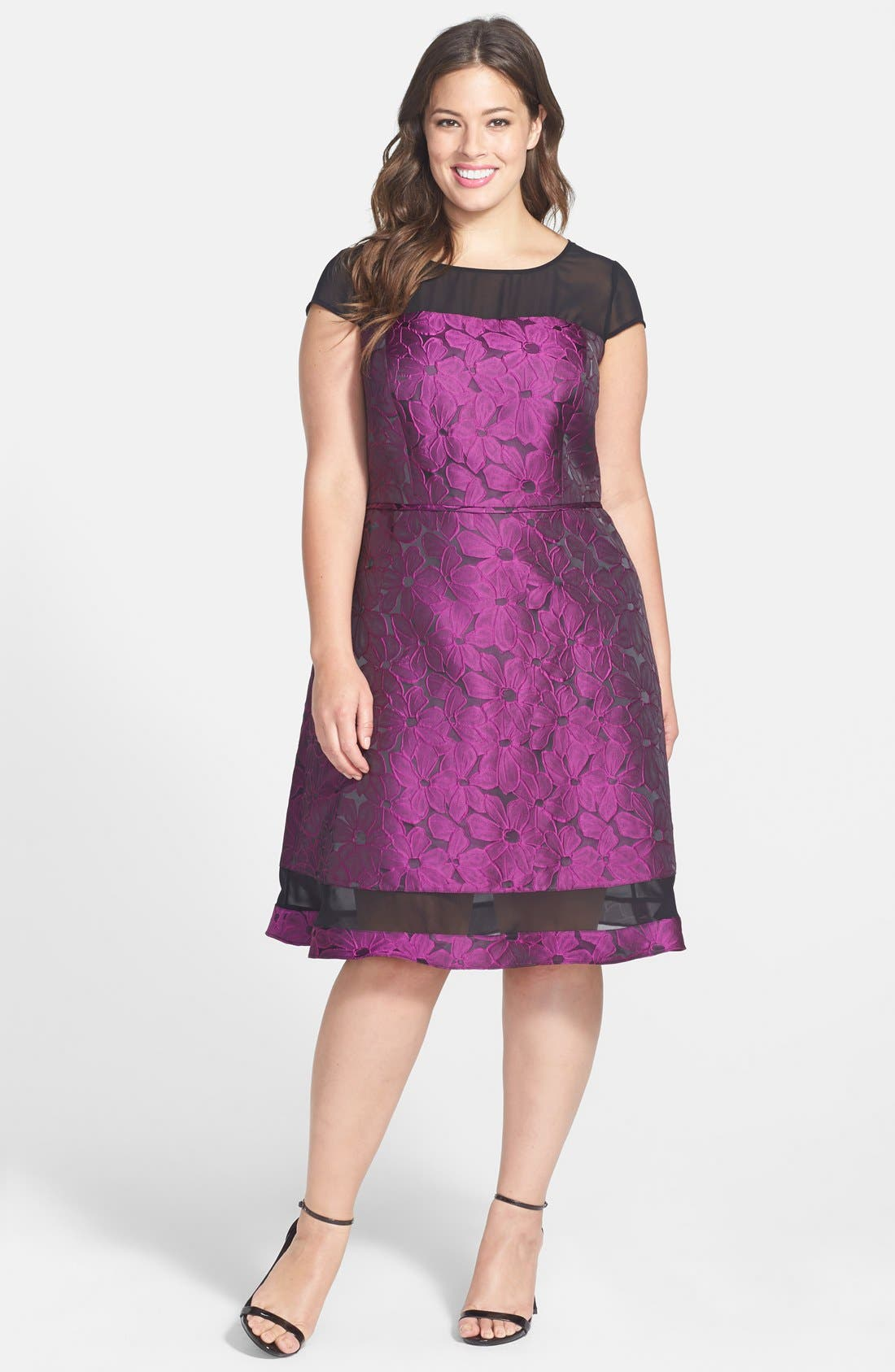 Main Image - Adrianna Papell Chiffon Inset Jacquard Fit & Flare Dress (Plus Size)