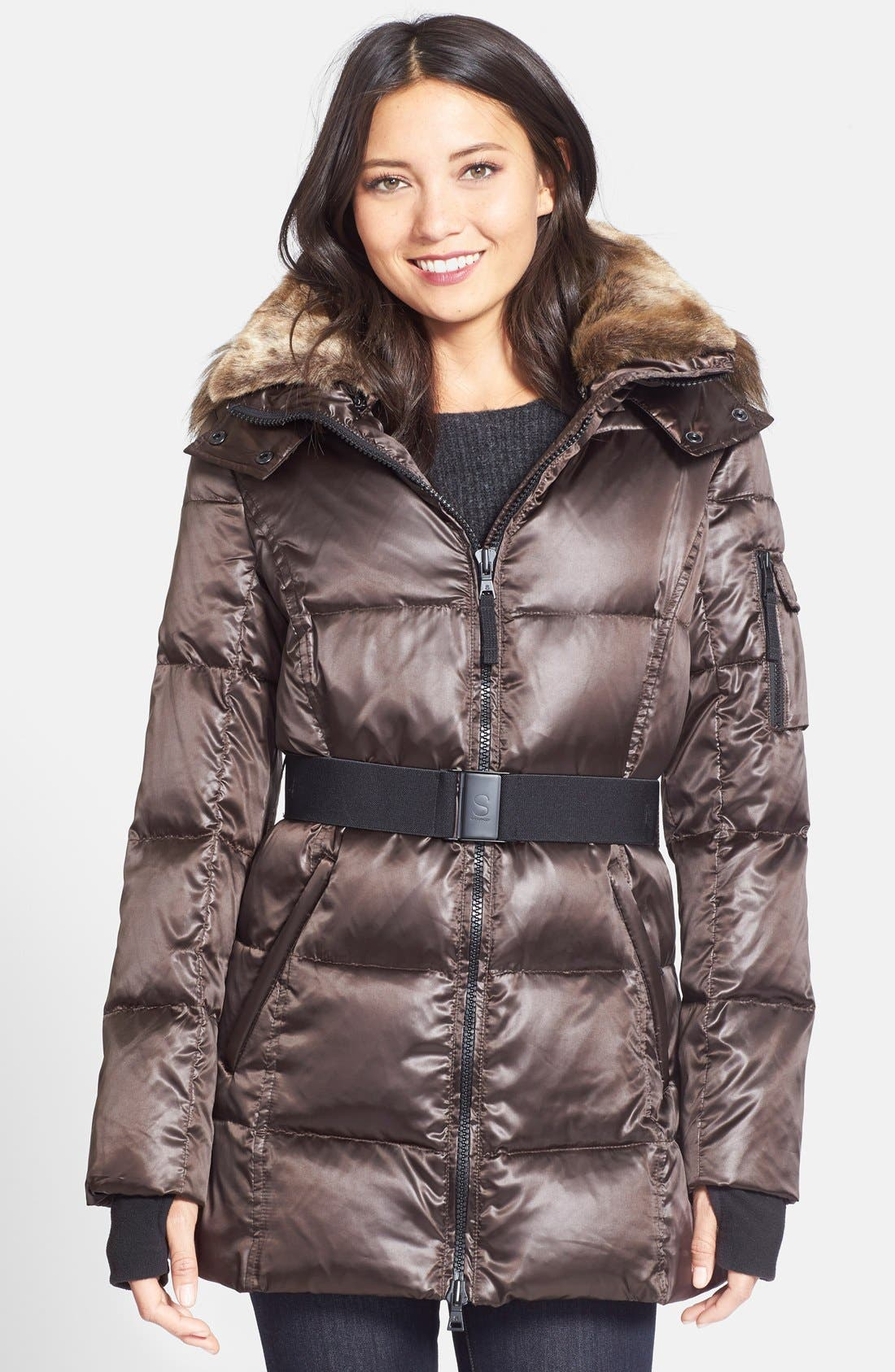 Alternate Image 1 Selected - S13/NYC Faux Fur Trim Hooded Puffer Coat