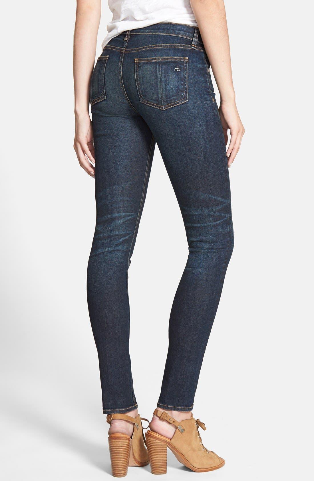 Alternate Image 2  - rag & bone/JEAN High Rise Skinny Stretch Jeans (Chaucer)