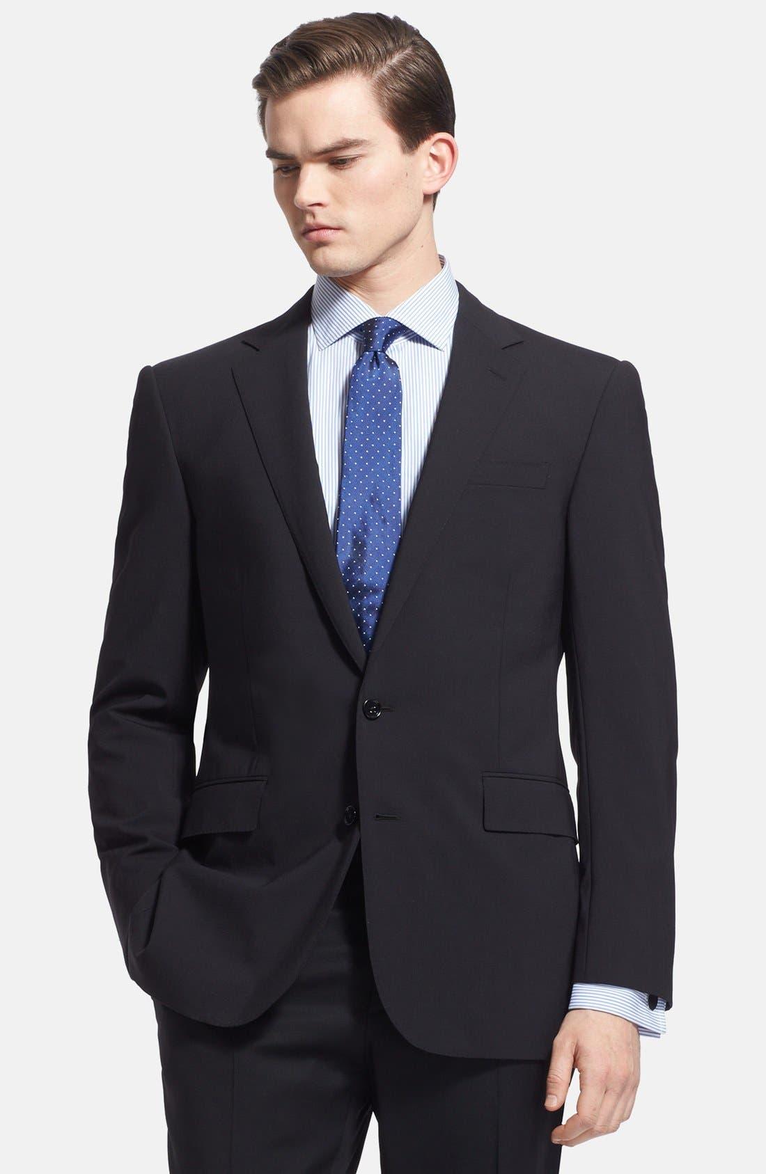Alternate Image 4  - Ralph Lauren Black Label Trim Fit Black Wool Suit