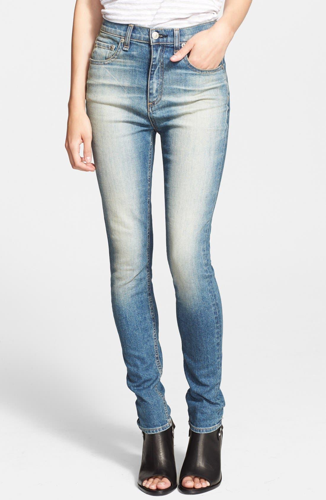 Alternate Image 1 Selected - rag & bone/JEAN 'The Justine' High Rise Jeans (Surf)