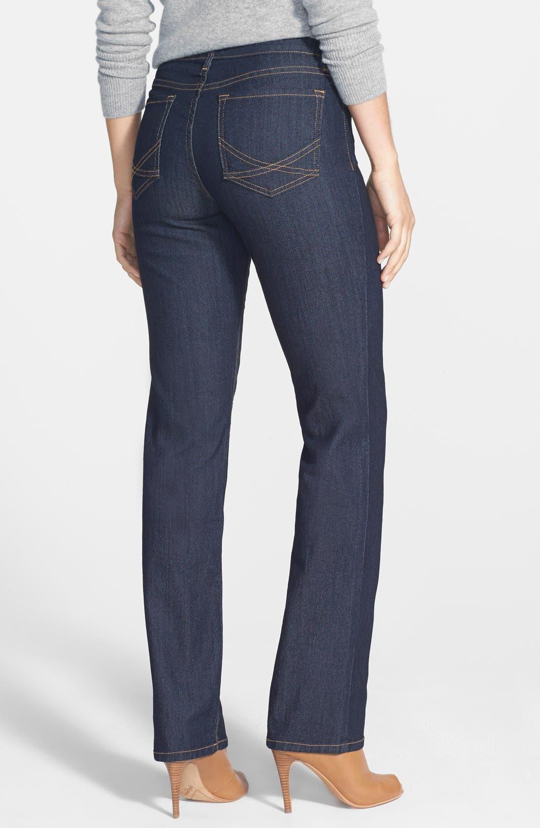 Alternate Image 2  - NYDJ 'Marilyn' Stretch Straight Leg Jeans (Dark Enzyme) (Regular & Petite)