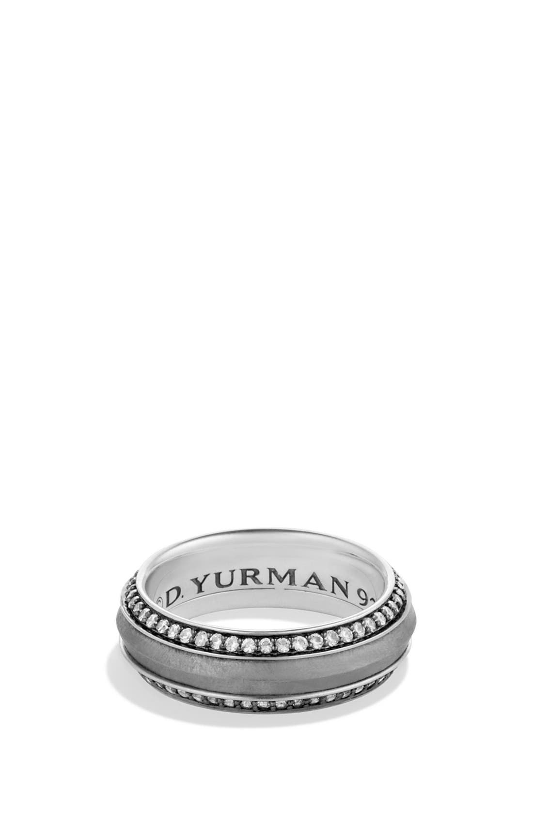 DAVID YURMAN Meteorite Knife-Edge Band Ring with Grey Sapphires