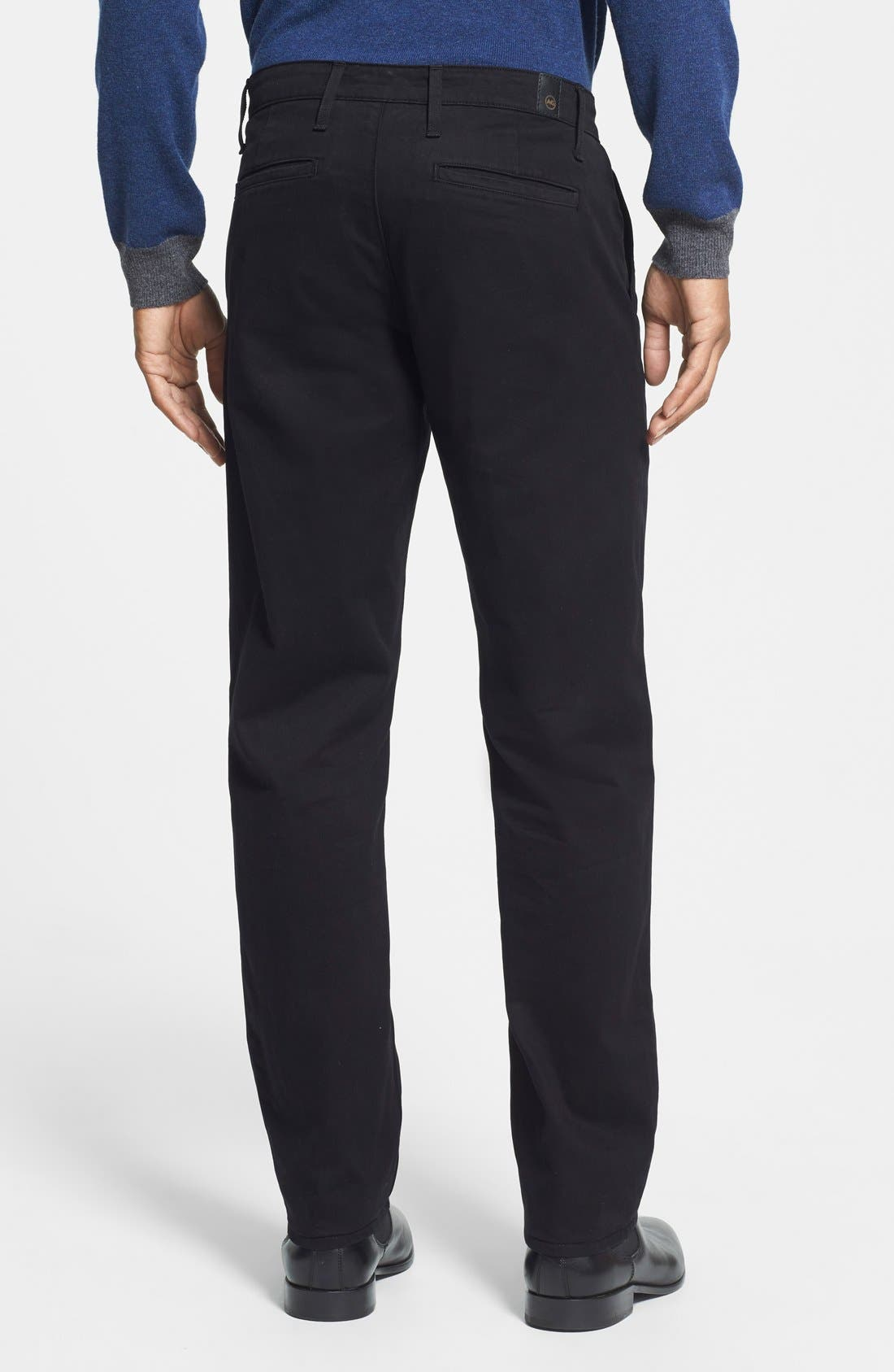 'The Lux' Tailored Straight Leg Chinos,                             Alternate thumbnail 2, color,                             Black