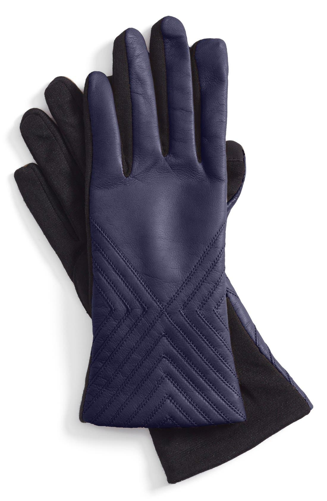 Main Image - Fownes Brothers Tech Fingertip Leather & Knit Gloves