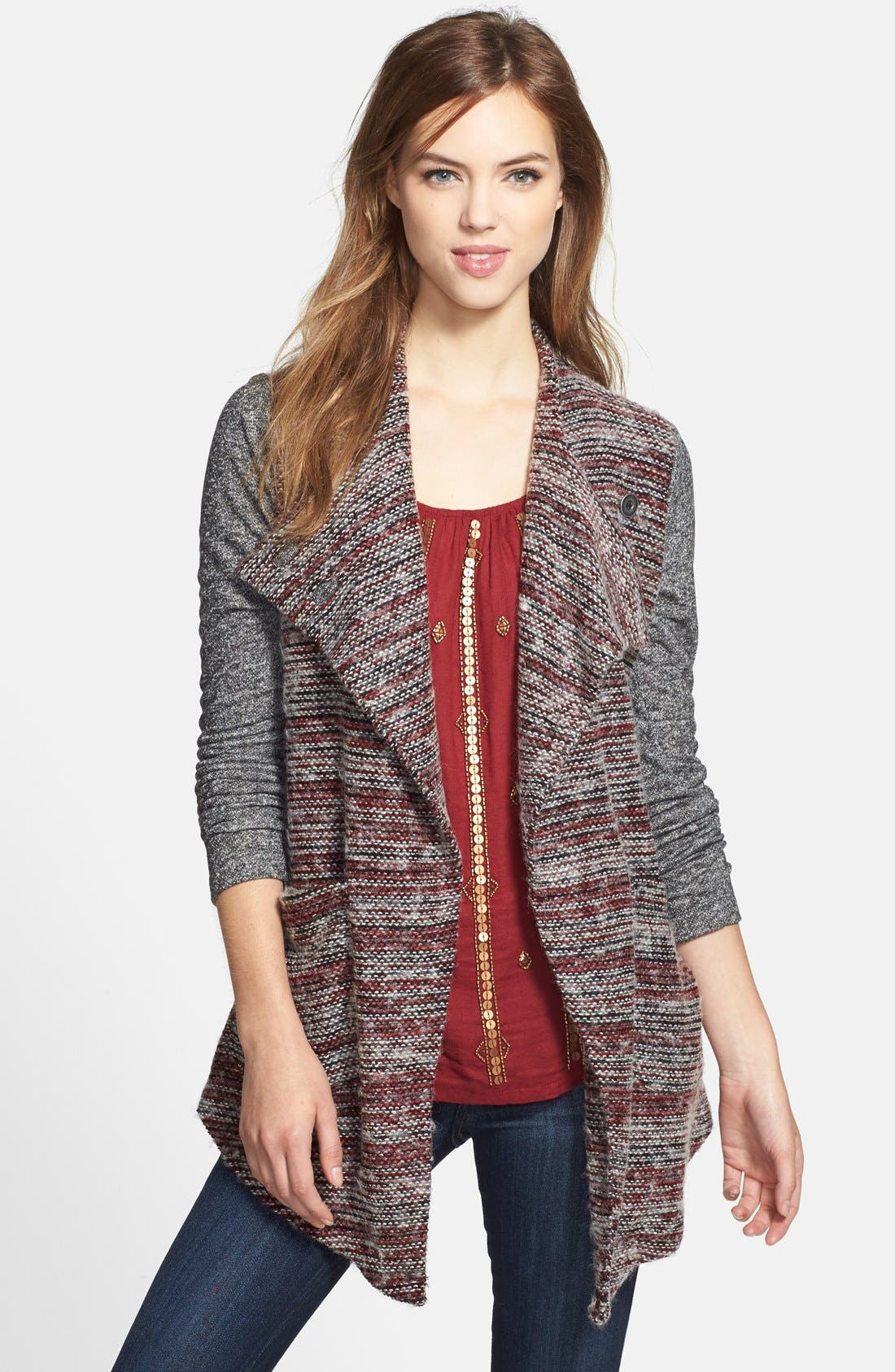 Alternate Image 1 Selected - Lucky Brand Mixed Knit Drape Front Cardigan