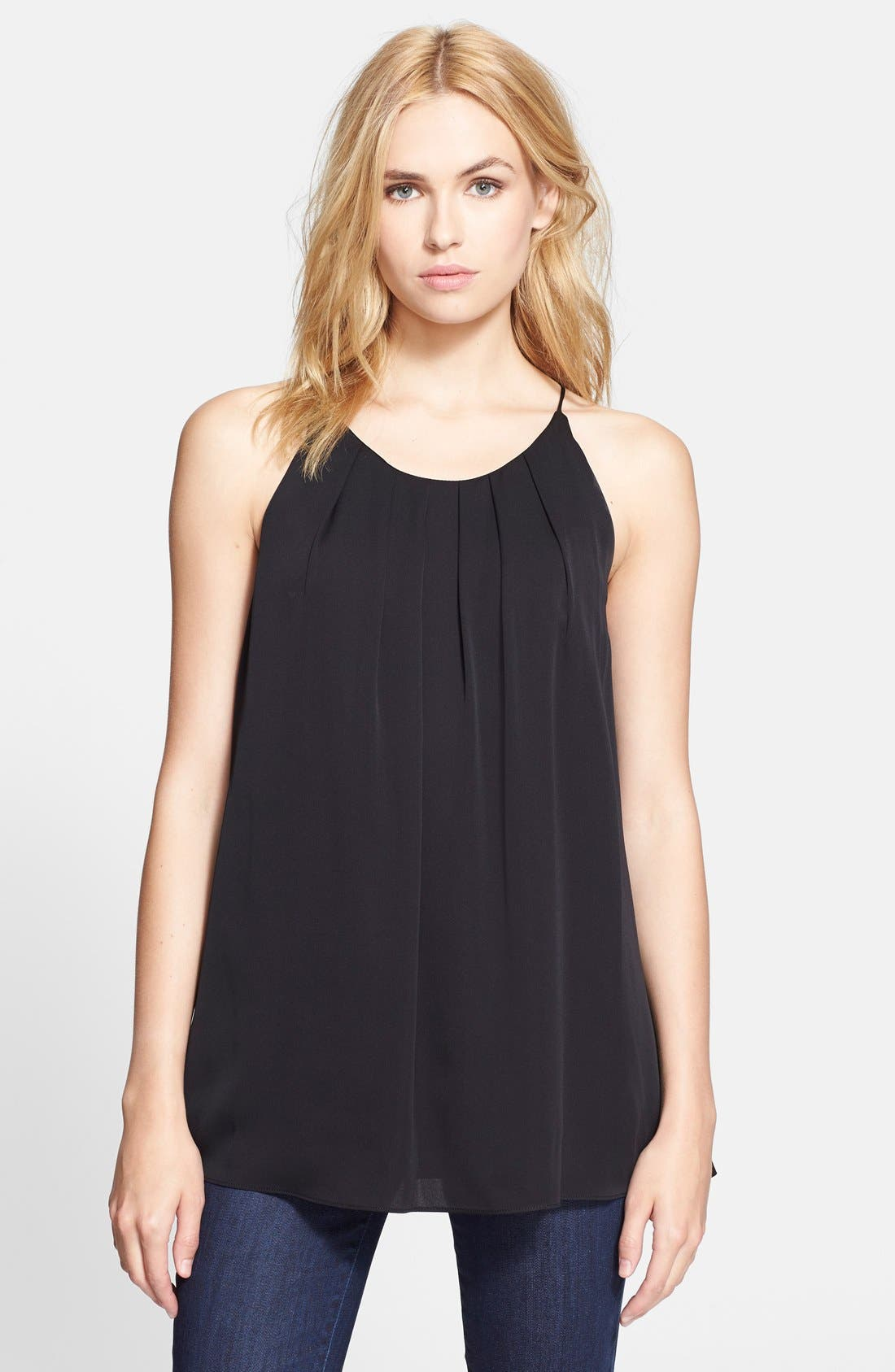 Alternate Image 1 Selected - Milly Pleated Silk Blend Tank