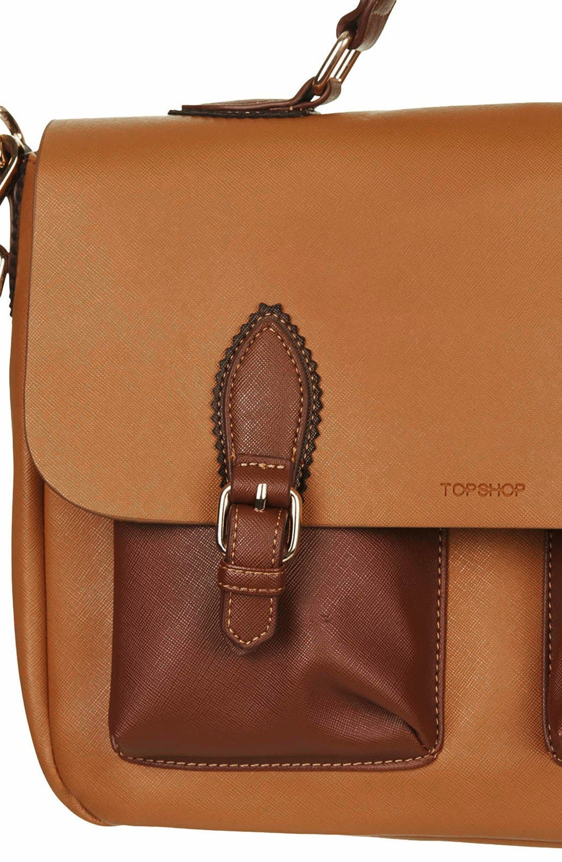 Alternate Image 3  - Topshop 'Saffiano' Colorblock Satchel