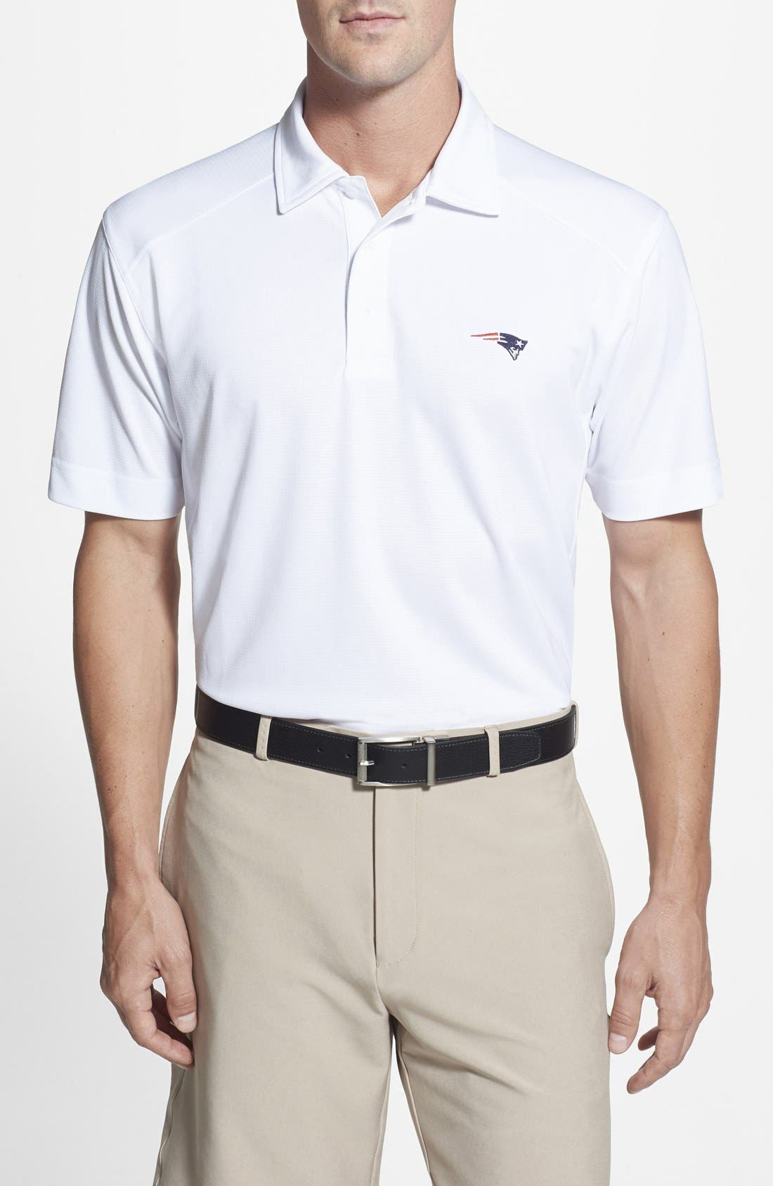 'New England Patriots - Genre' DryTec Moisture Wicking Polo,                             Main thumbnail 1, color,                             White
