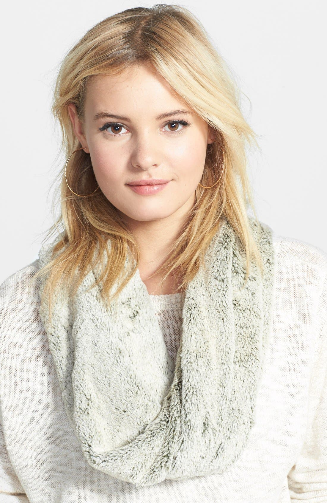 Faux Fur Infinity Scarf,                         Main,                         color, Camel