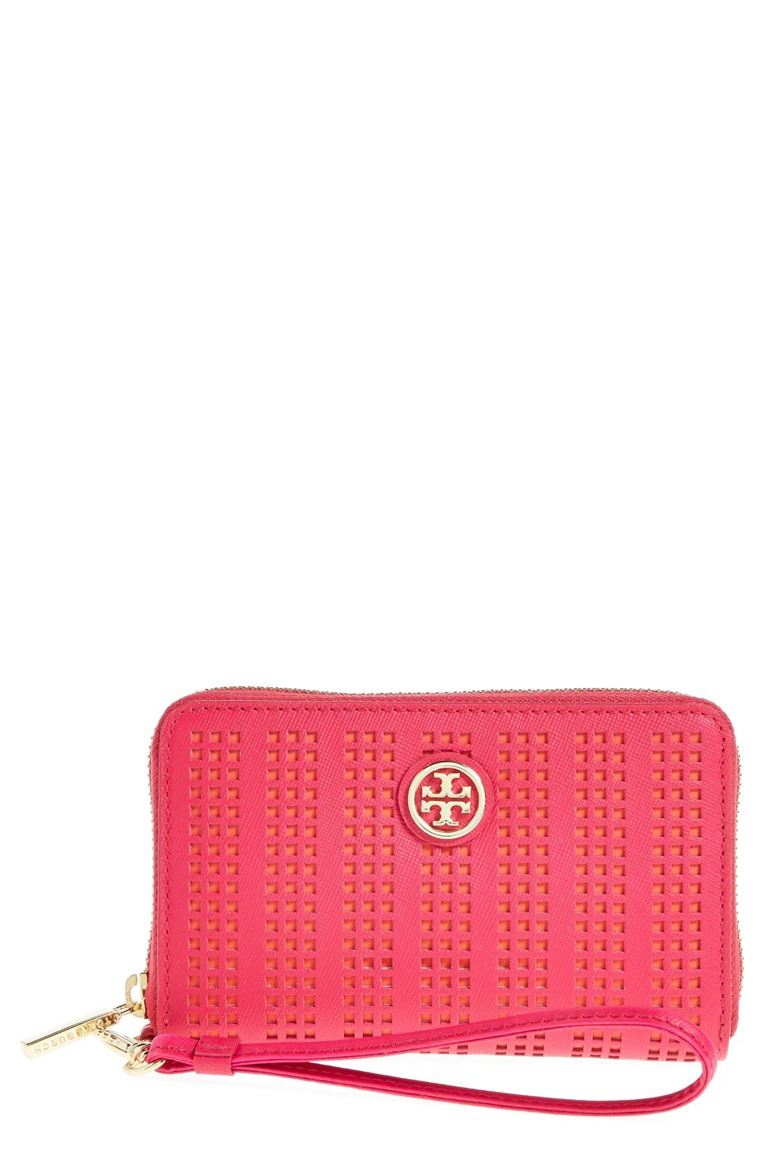 Alternate Image 1 Selected - Tory Burch 'Robinson' Perforated Smartphone Wristlet