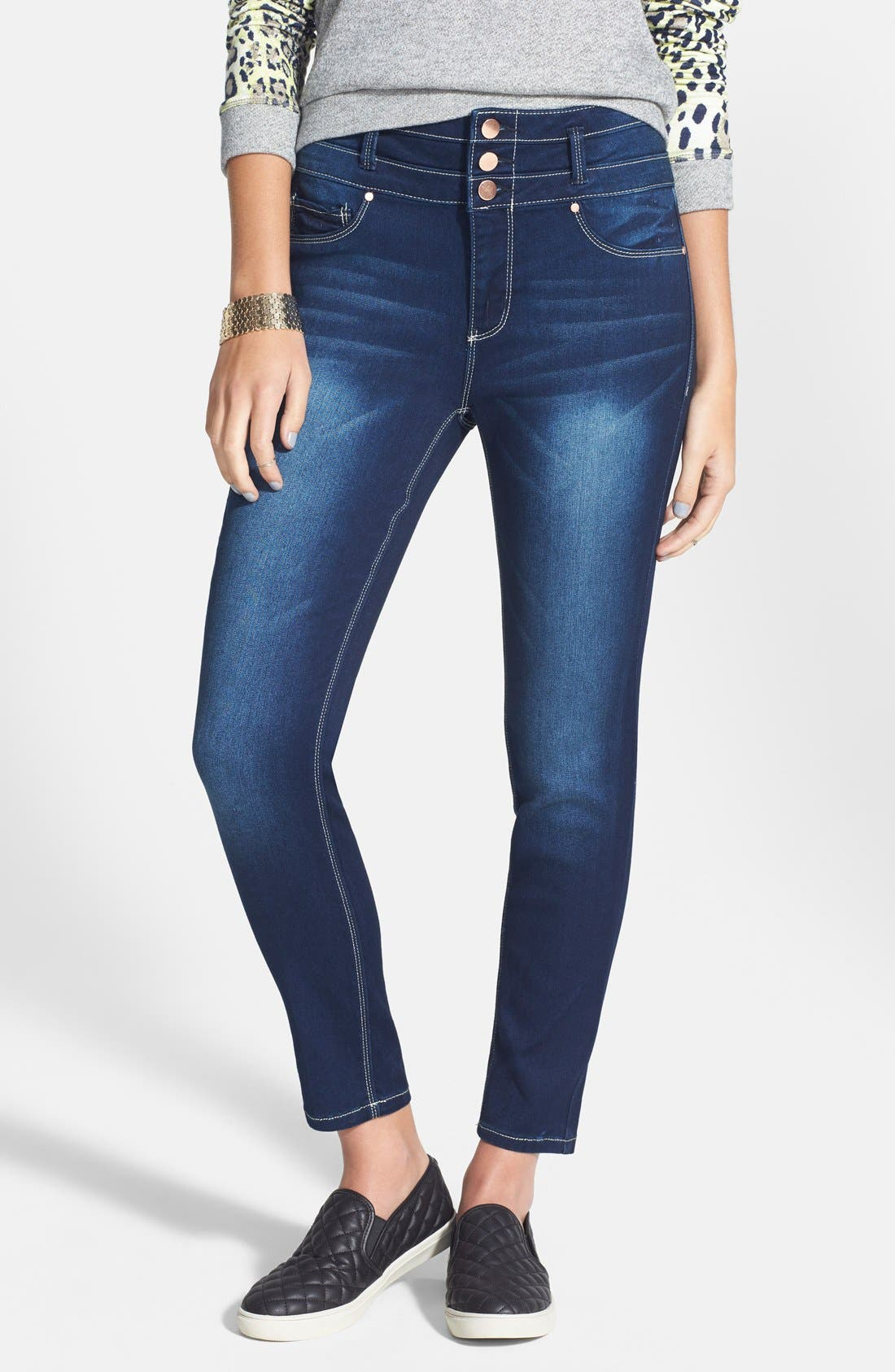 Alternate Image 1 Selected - Fire Triple Button High Waist Skinny Jeans (Dark) (Juniors)