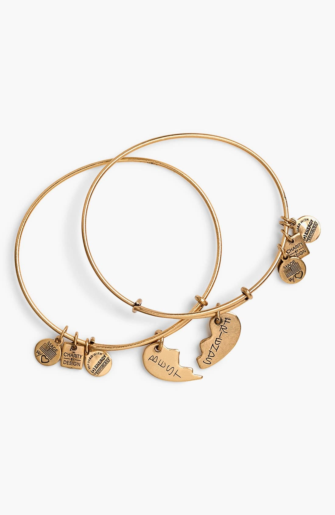 'Charity by Design - Best Friends' Adjustable Wire Bangles,                         Main,                         color, Gold