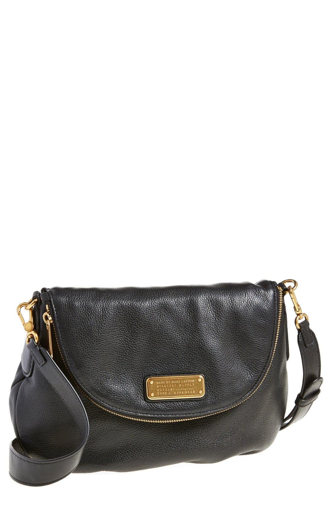 MARC BY MARC JACOBS 'New Q - Natasha' Crossbody Bag,                             Main thumbnail 1, color,                             Black