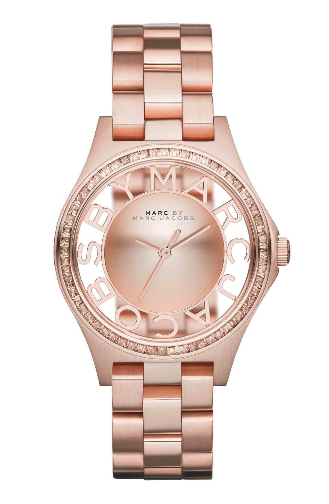 Alternate Image 1 Selected - MARC JACOBS 'Henry Skeleton' Crystal Bezel Bracelet Watch, 34mm