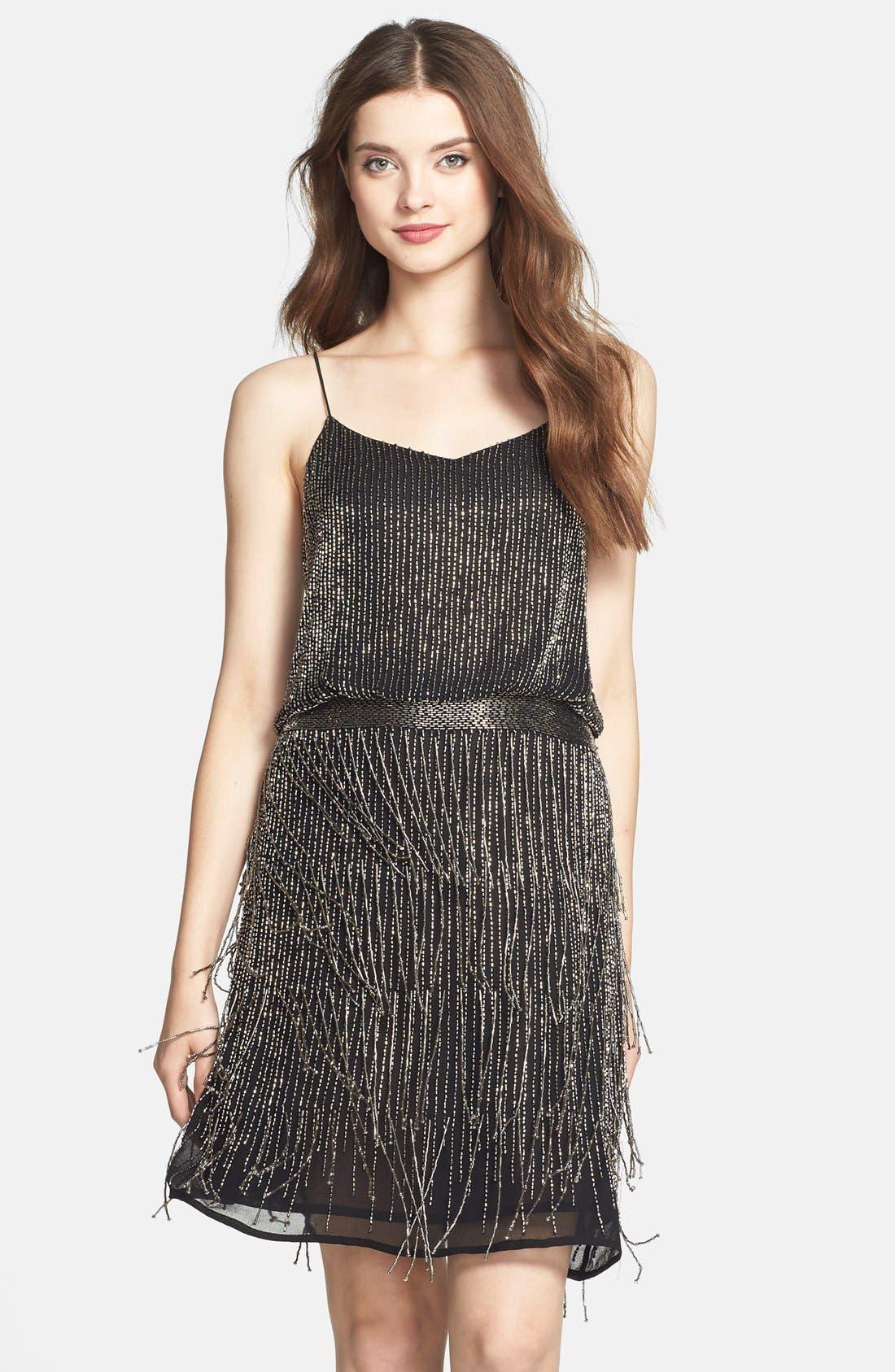 Alternate Image 1 Selected - Adrianna Papell Beaded Fringe Blouson Dress