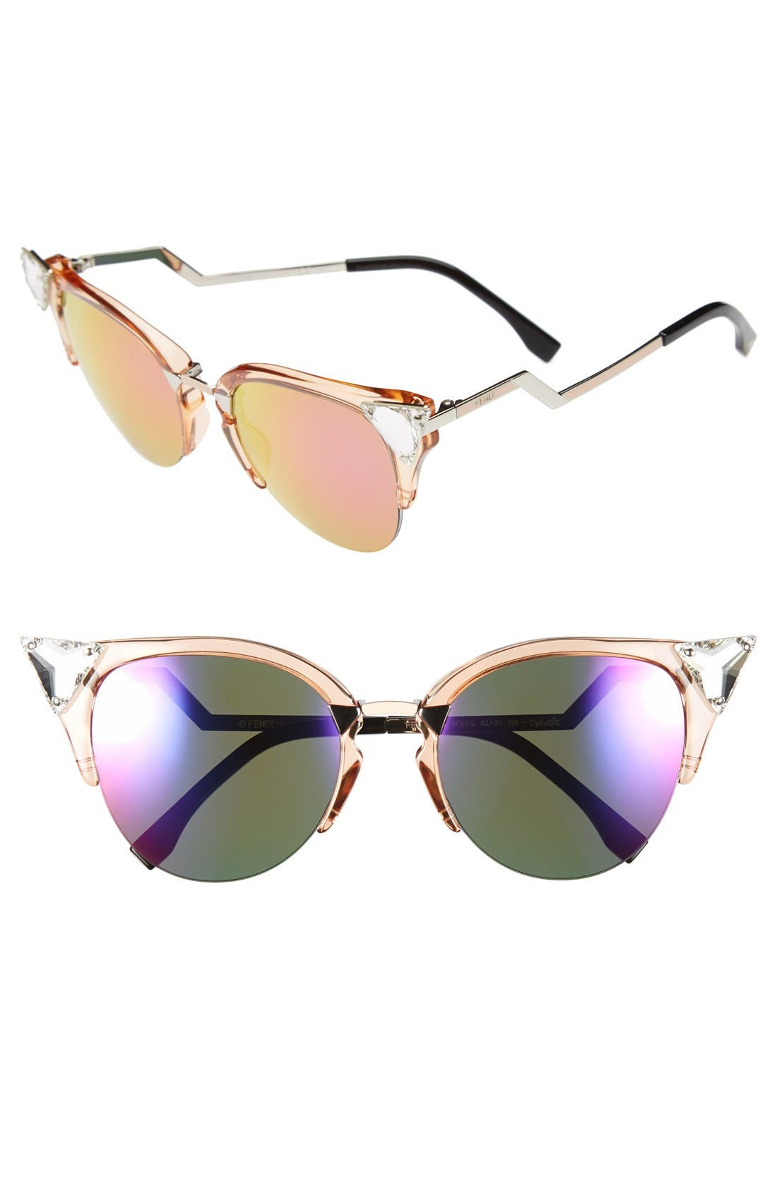 Main Image - Fendi Crystal 52mm Tipped Cat Eye Sunglasses