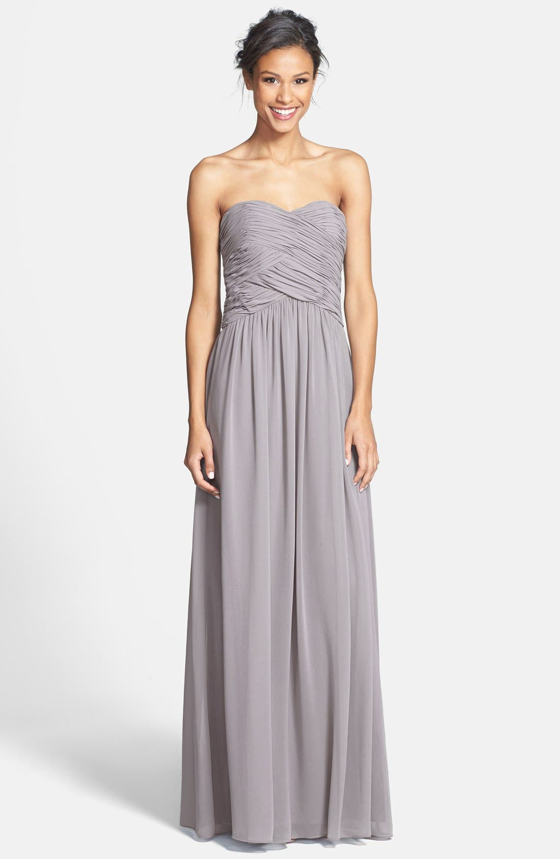 Main Image - Donna Morgan 'Audrey' Strapless Chiffon Gown
