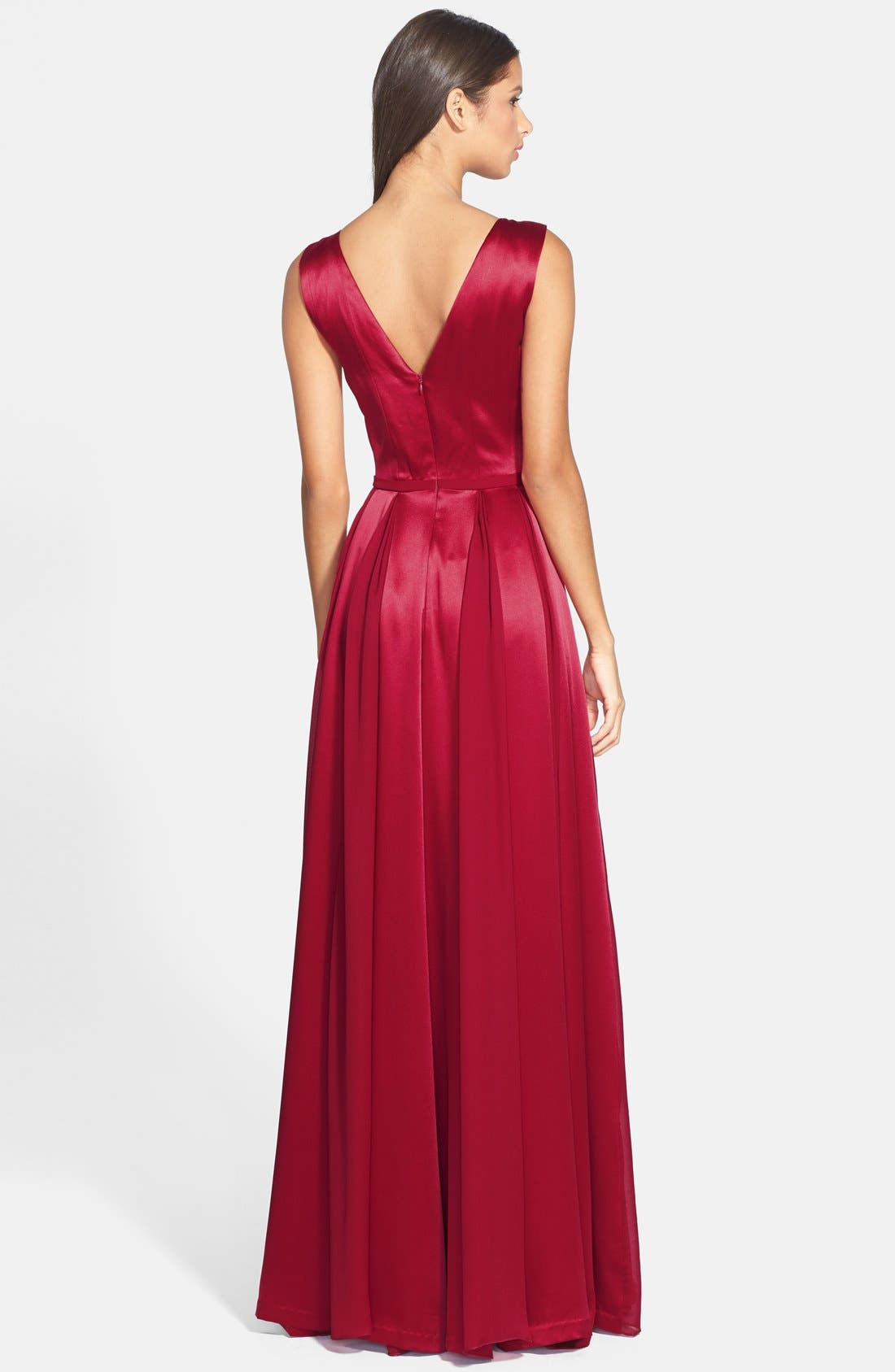 Alternate Image 2  - Halston Heritage Satin Fit & Flare Gown