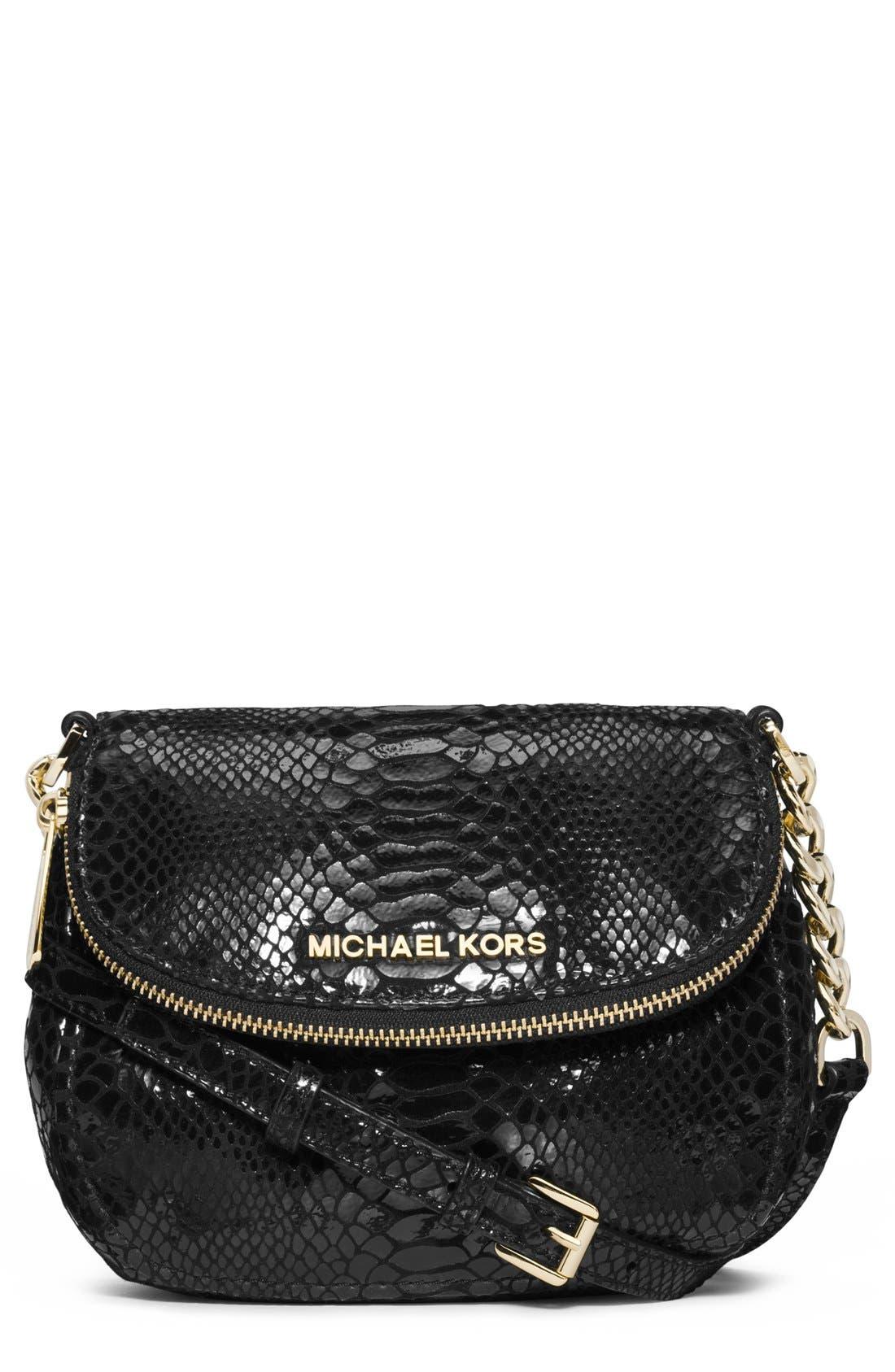 Alternate Image 1 Selected - MICHAEL Michael Kors 'Bedford' Python Embossed Leather Crossbody Bag