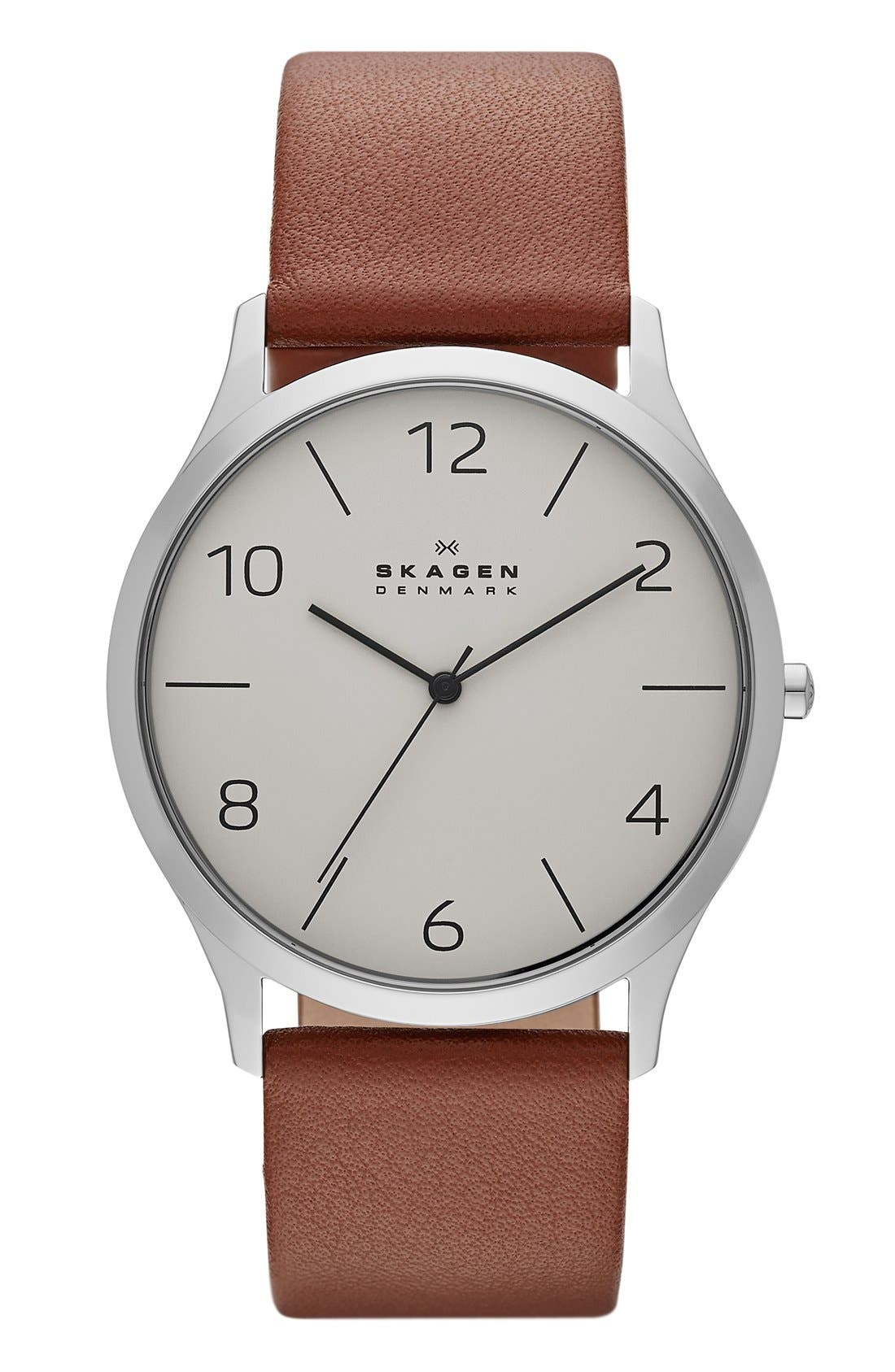 Alternate Image 1 Selected - Skagen 'Jorn' Leather Strap Watch, 41mm