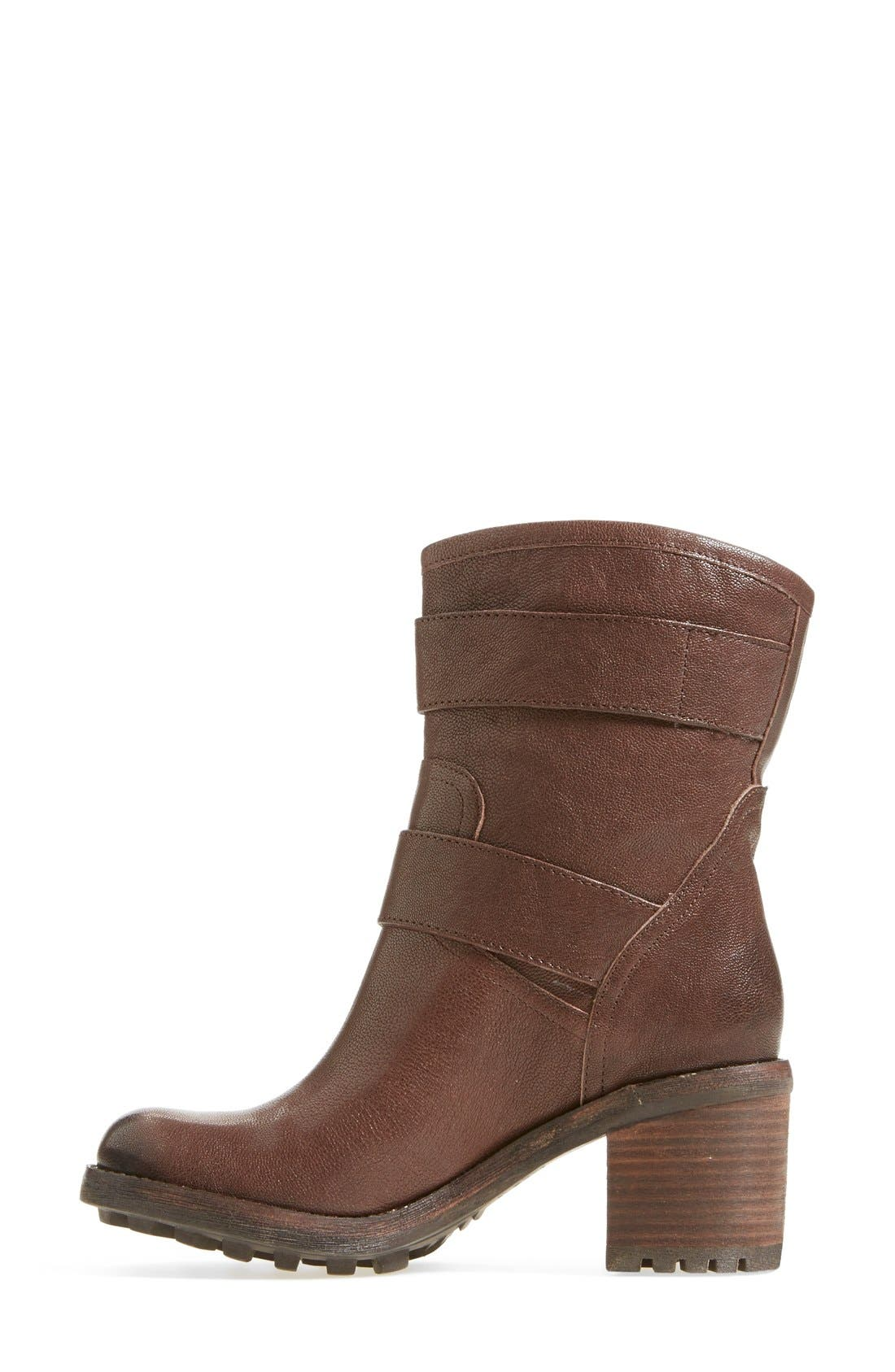 'Troy' Moto Boot,                             Alternate thumbnail 6, color,                             Dark Brown Leather